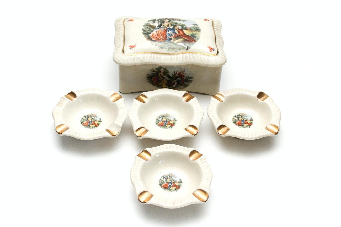 Vintage Porcelain Cigarette Set