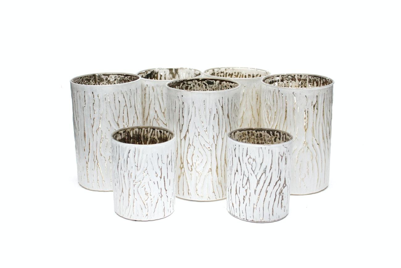 Sur La Table Glass Faux Bois Wood Grain Candle Votives