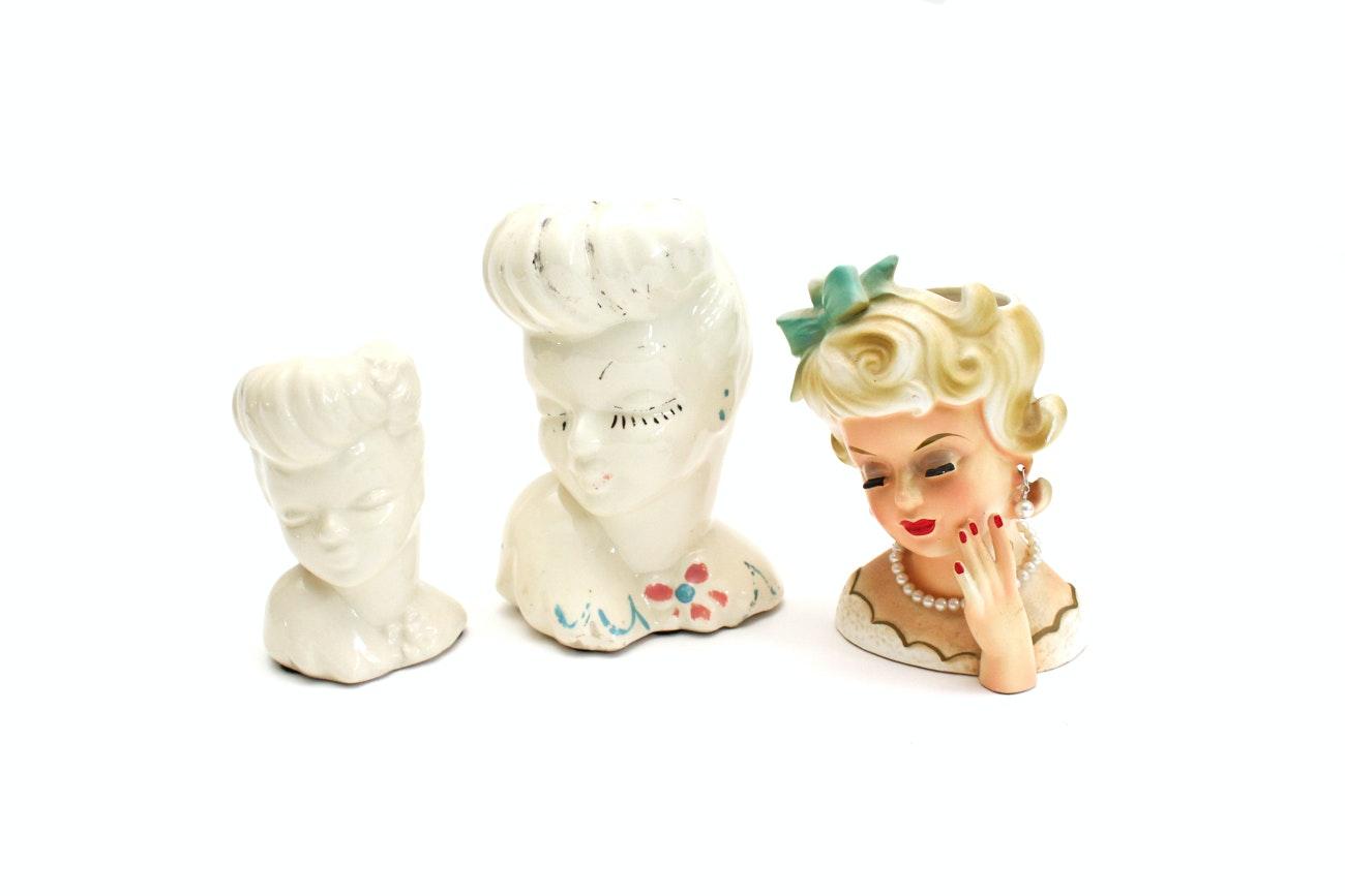 "Mid-Century ""Lady Head"" Vases Featuring Napco"