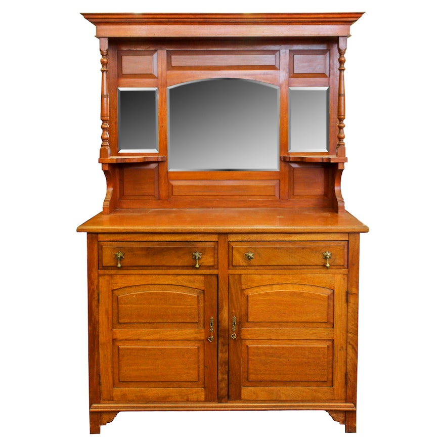 Antique Victorian Walnut Sideboard with Mirrored Top