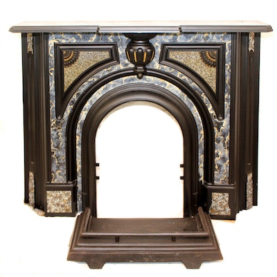 Refinished Victorian Style Fireplace Surround With Mantel