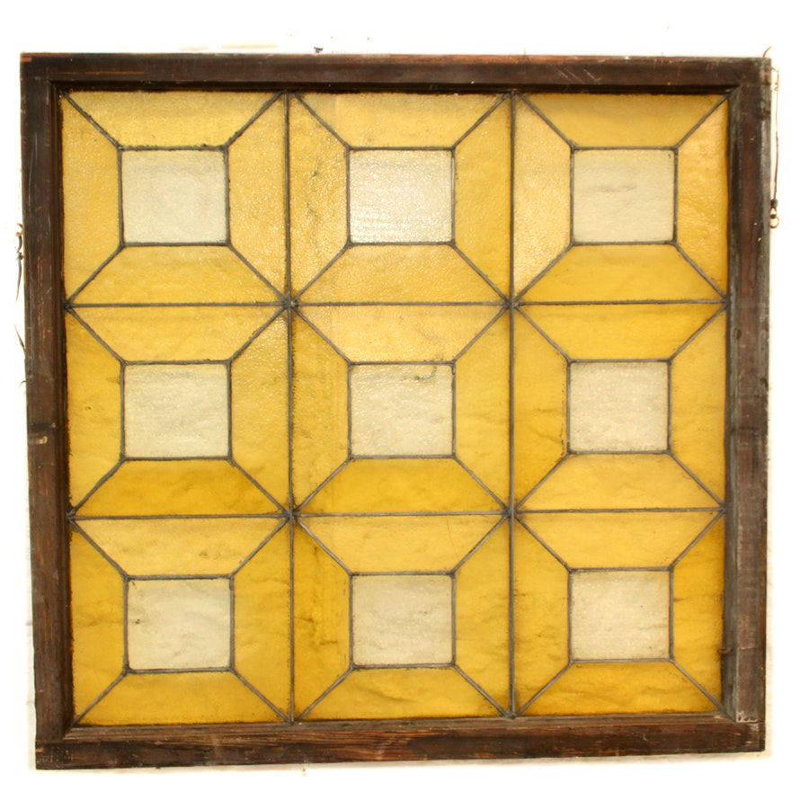 Antique Framed Stained Glass Panel