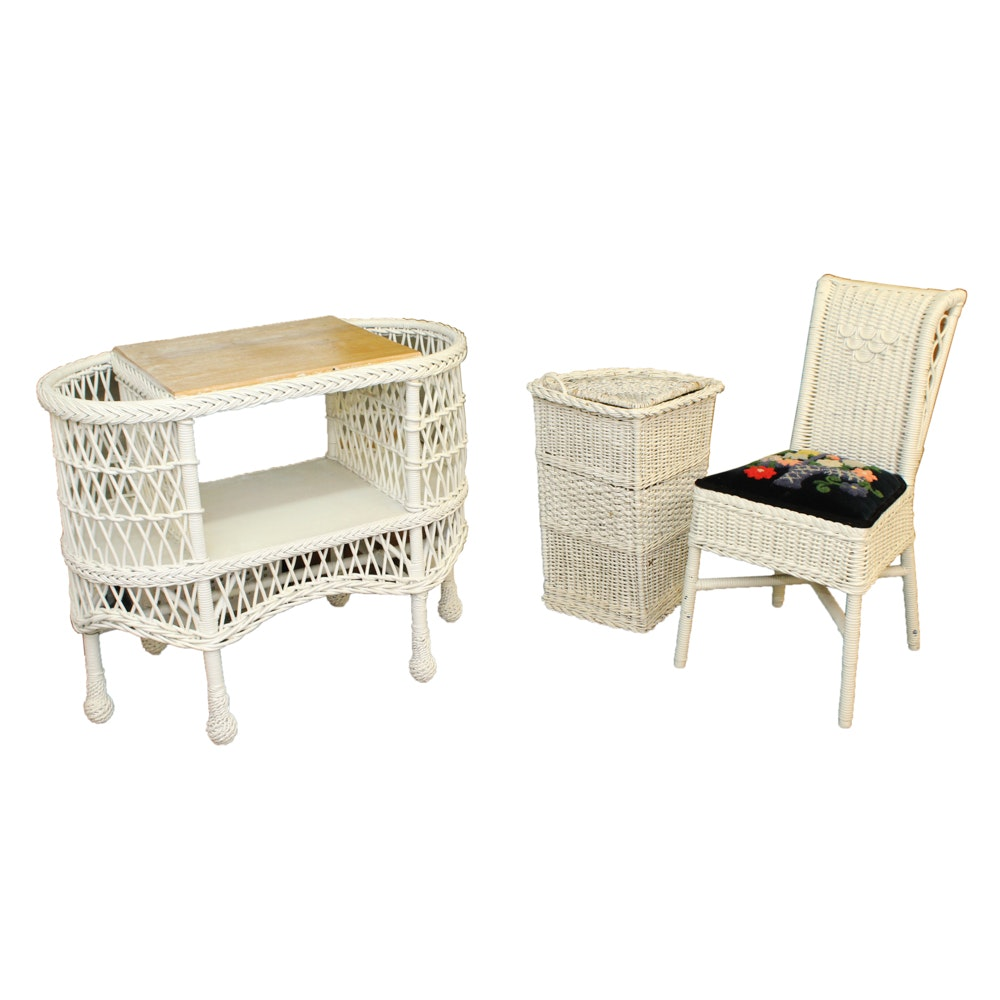 Superbe White Wicker Weave Side Table, Chair And Hamper ...