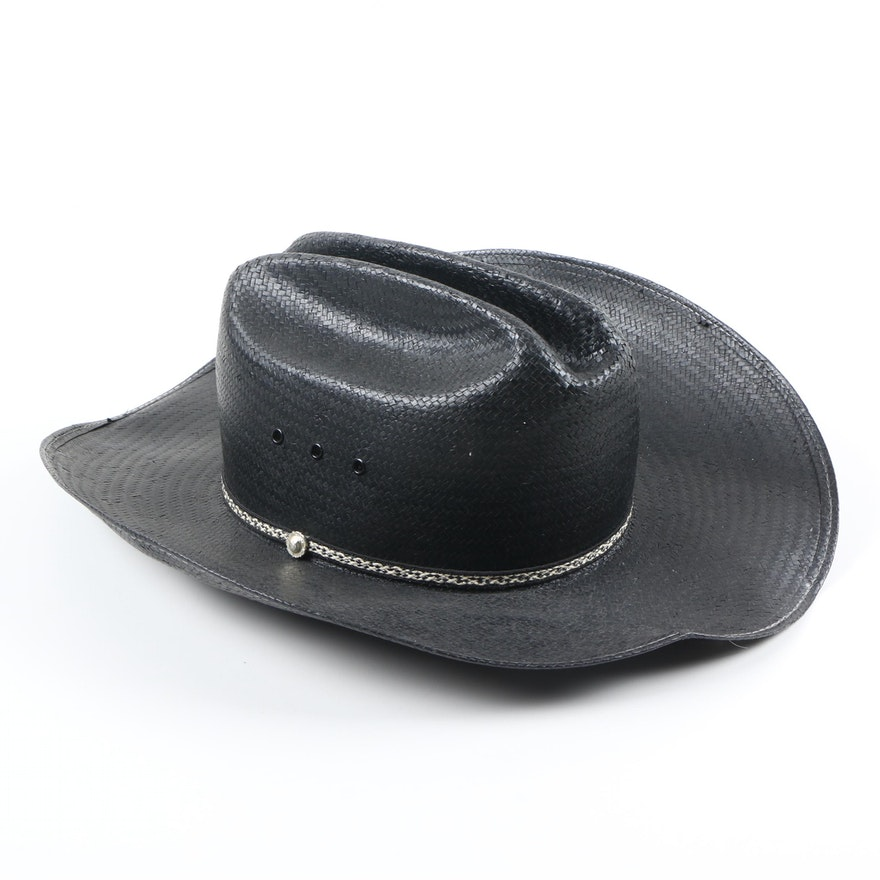 55876b3ecdf Stallion by Stetson Black Straw Cowboy Hat   EBTH