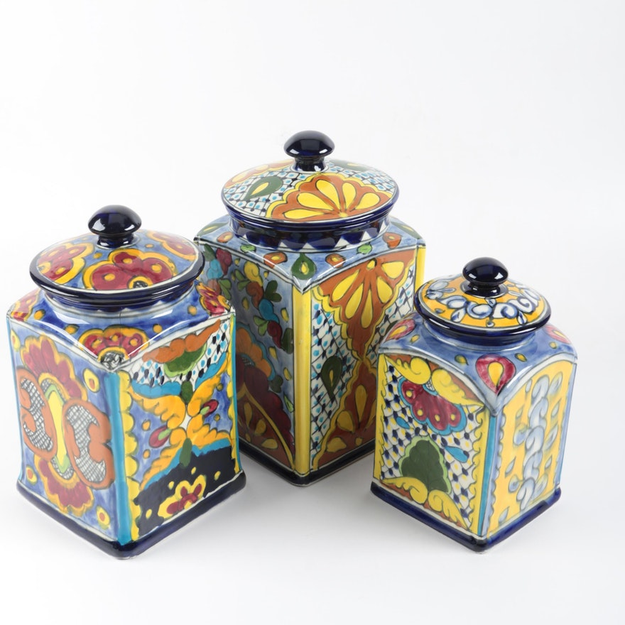 Hand Painted Ceramic Canisters
