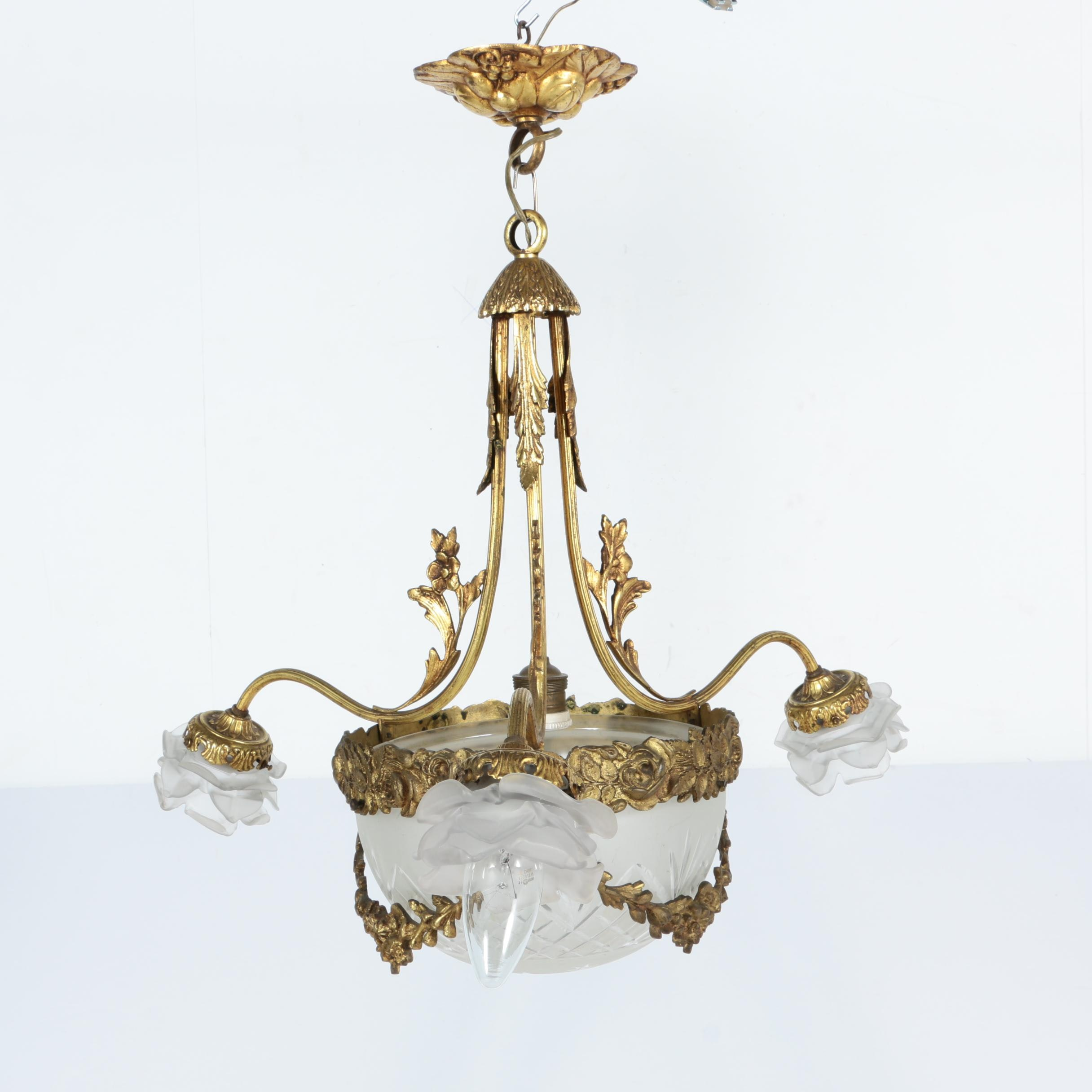 Vintage Gilt Metal and Frosted Glass Chandelier
