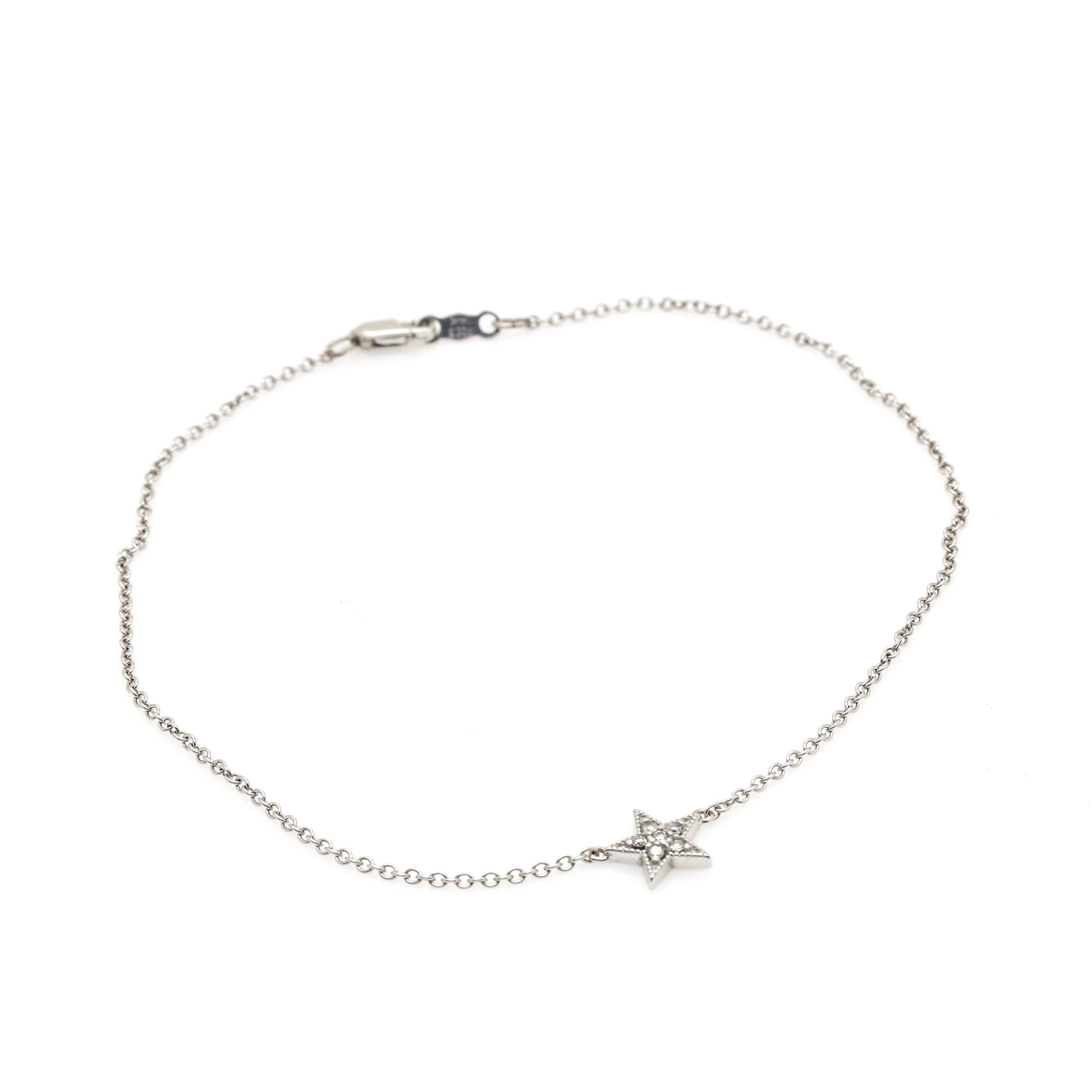 14K White Gold Diamond Ankle Bracelet