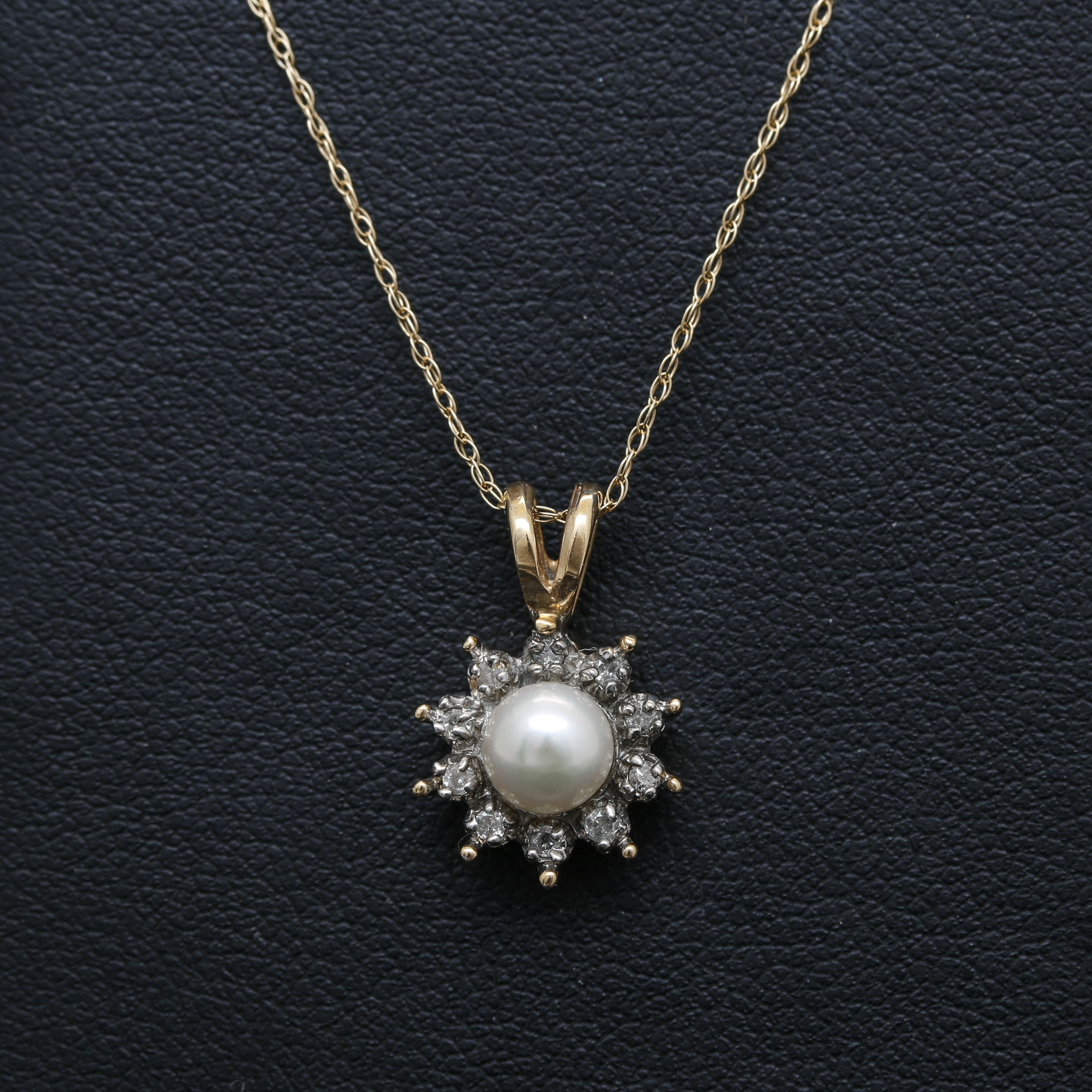14K Yellow and White Gold Cultured Pearl and Diamond Necklace