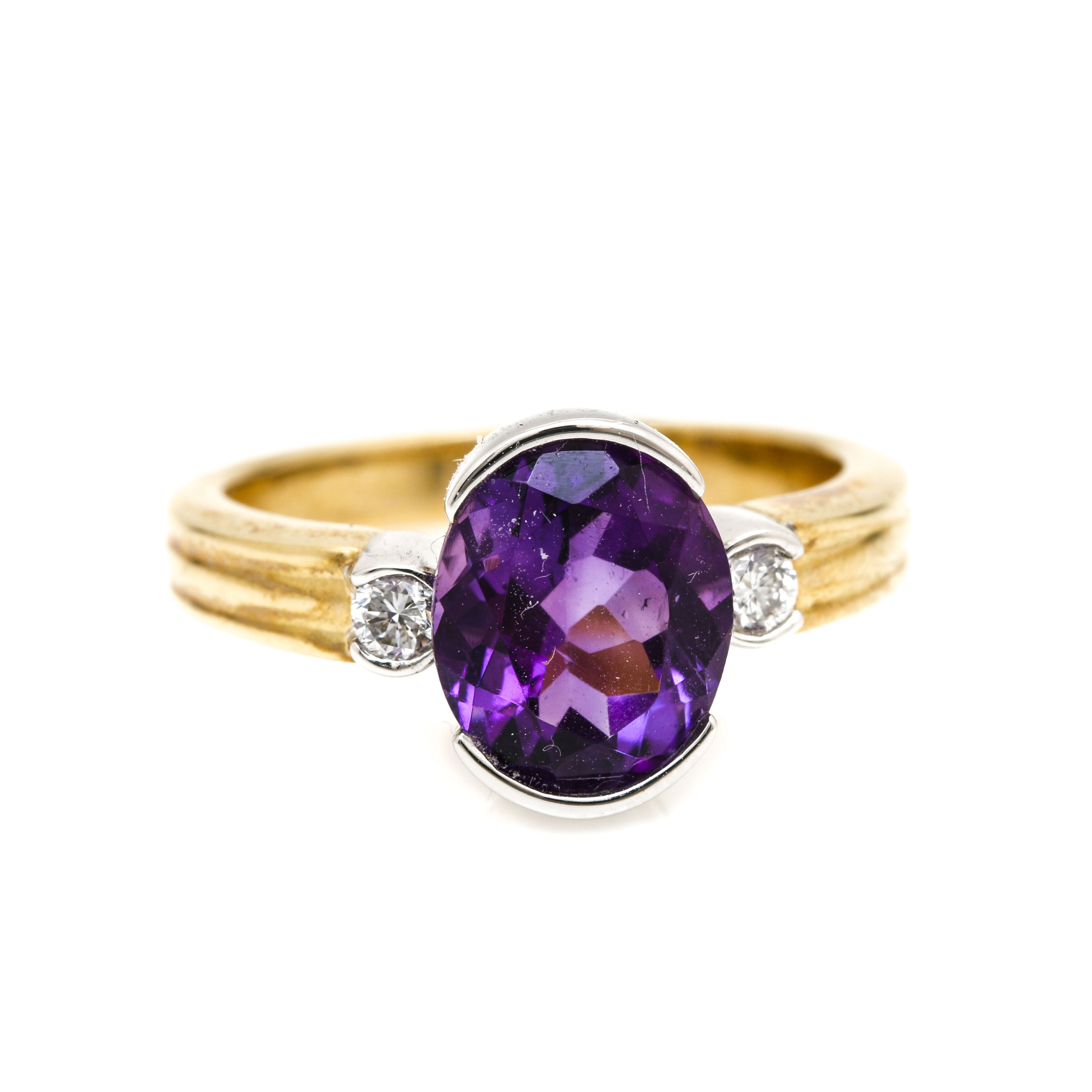 14K Two Tone Gold 2.19 CT Amethyst and Diamond Ring