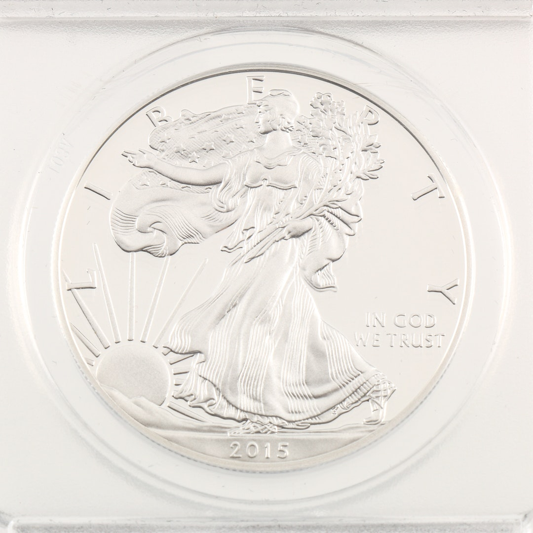 Encapsulated 2015 W Walking Liberty Silver Eagle Proof Coin
