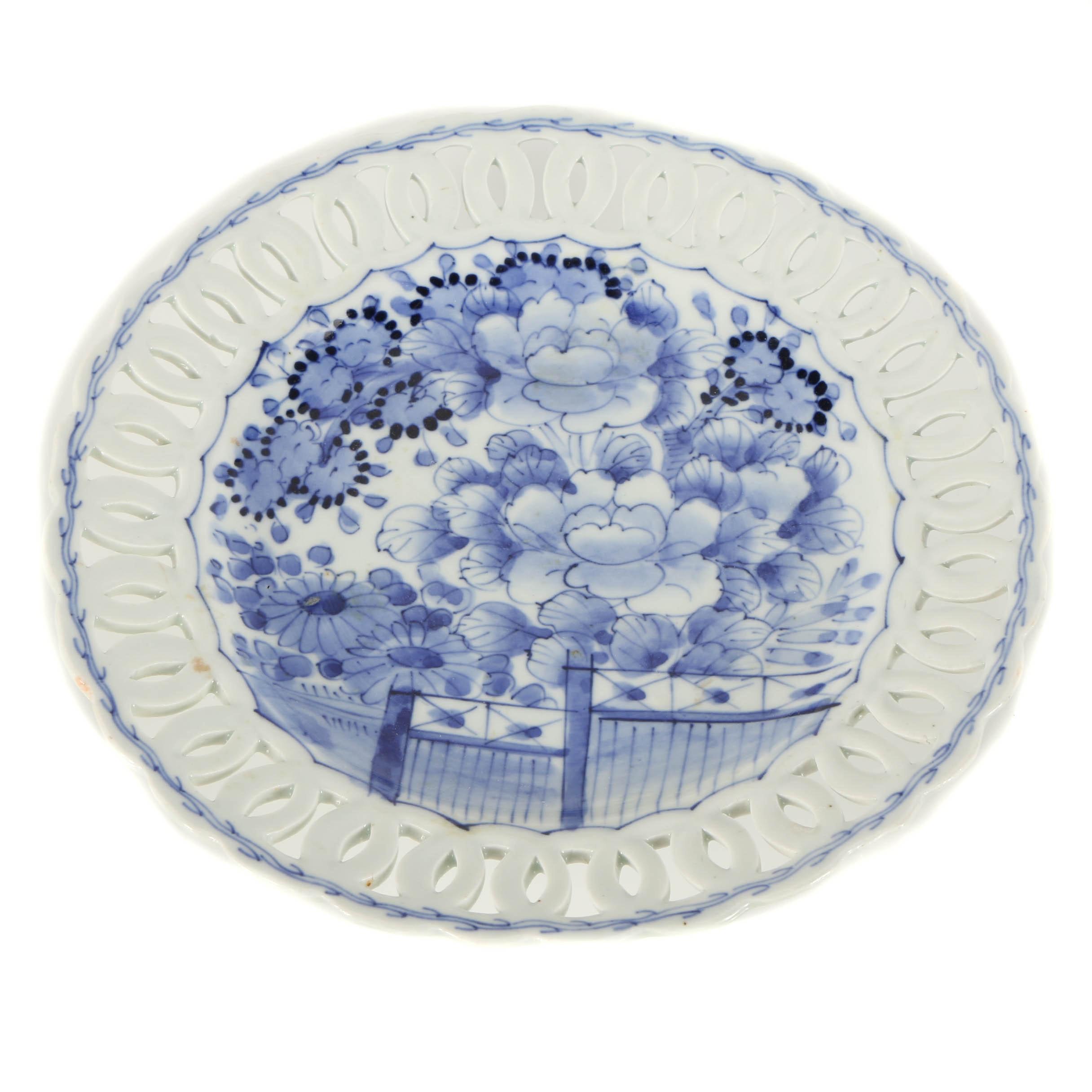 Japanese Porcelain Platter with Blue Floral Glaze Design