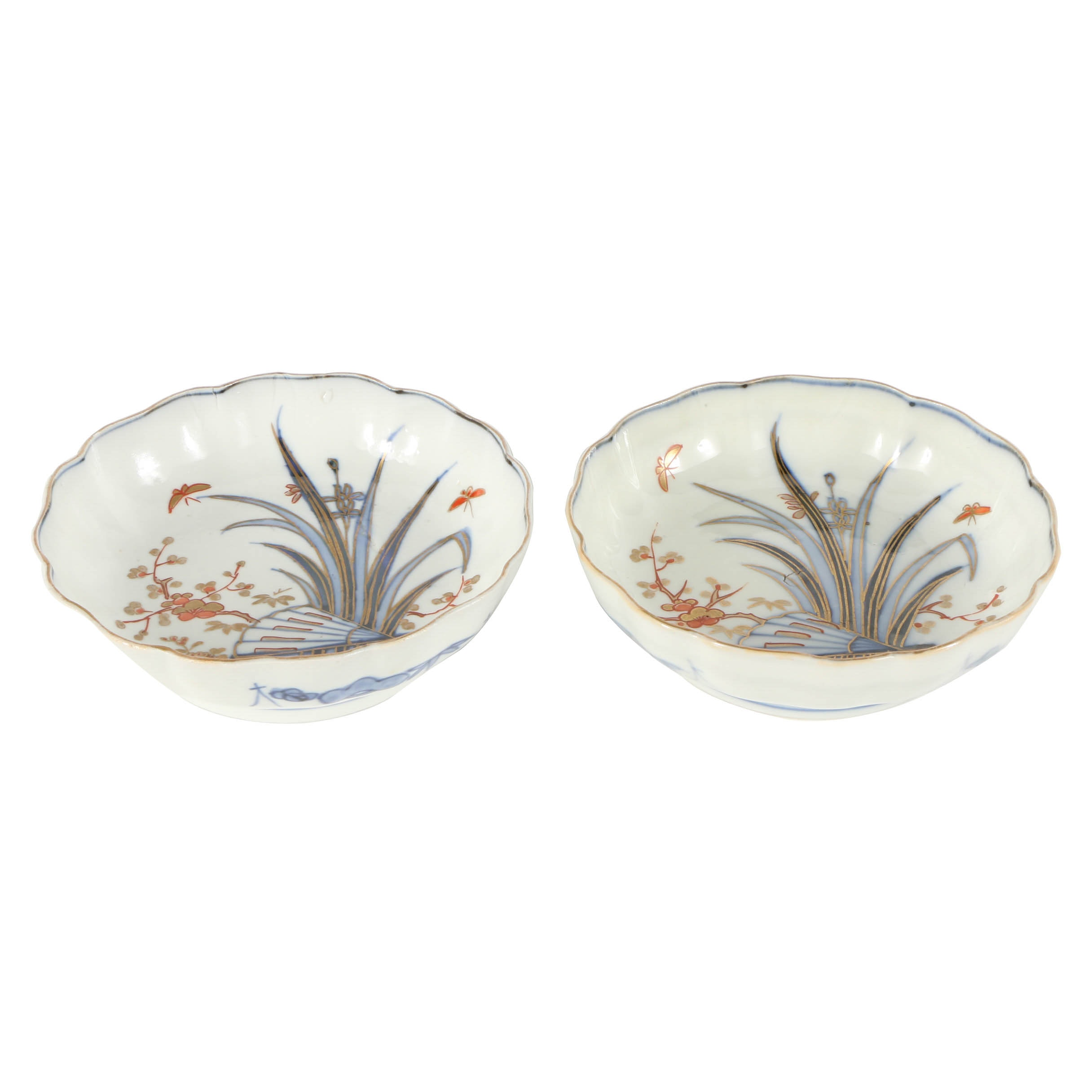 Pair of Japanese Porcelain Bowls with Gold-Toned Reed Designs
