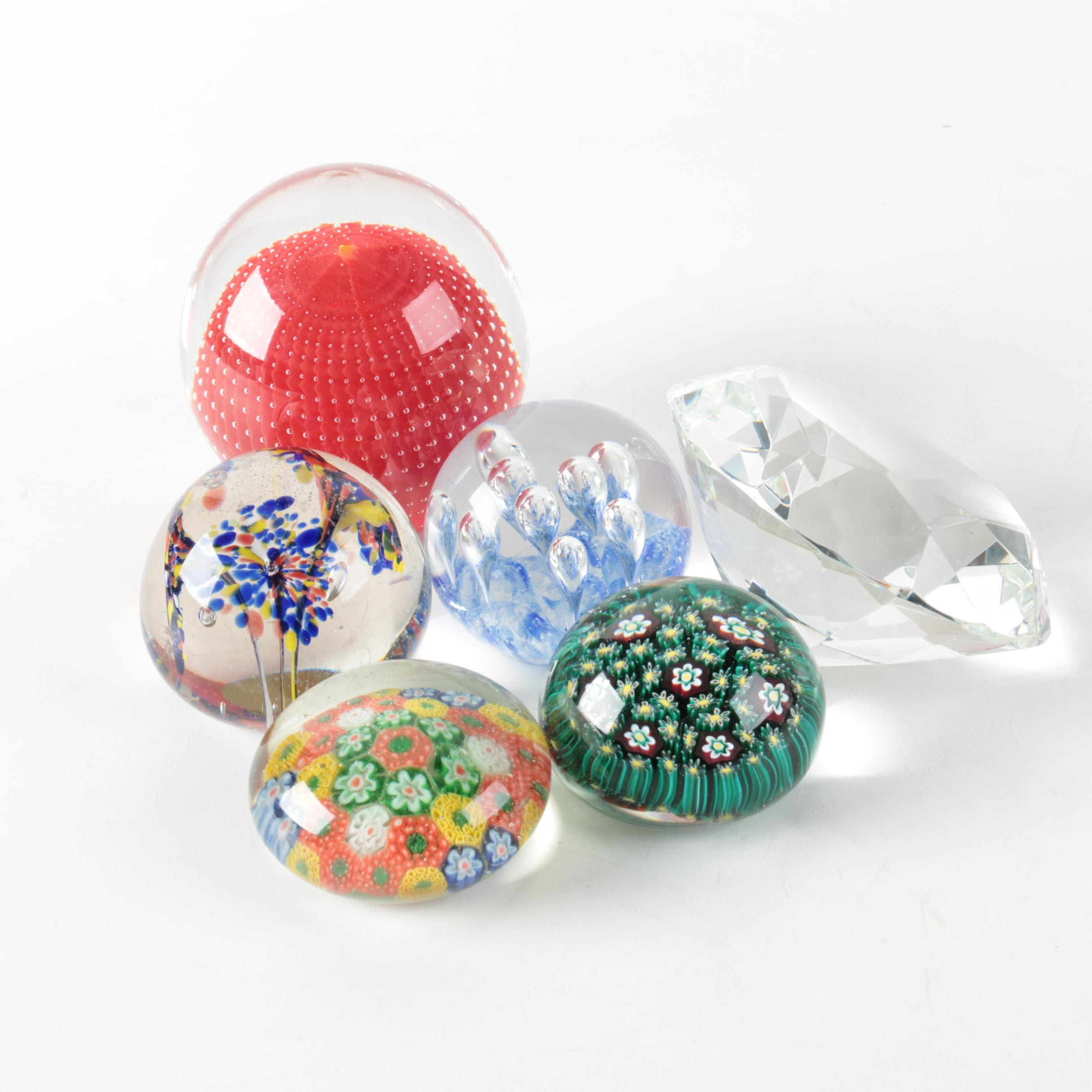 Millefiori and Seeded Art Glass Paperweights