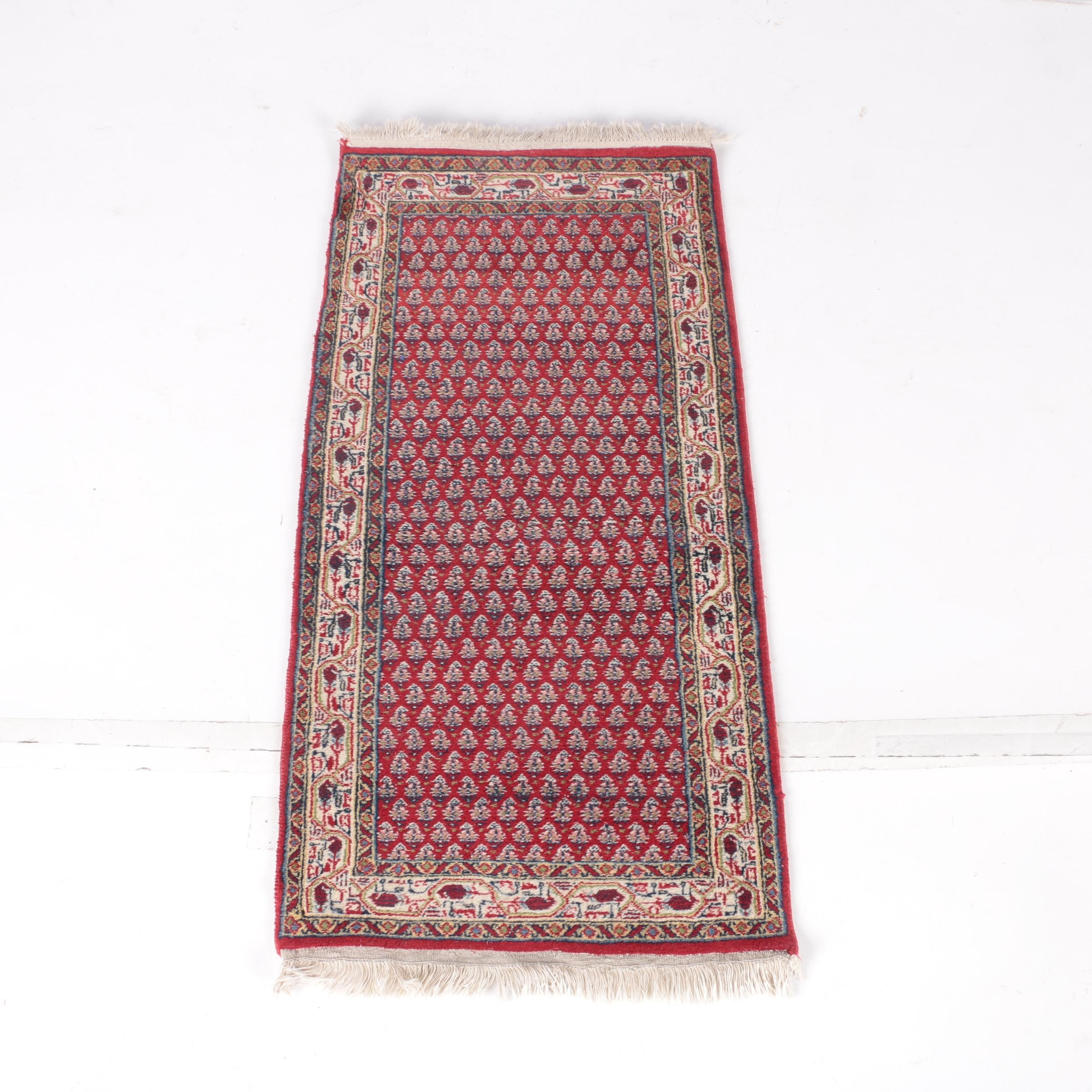 Hand-Knotted Persian Mir Serabend Wool Accent Rug