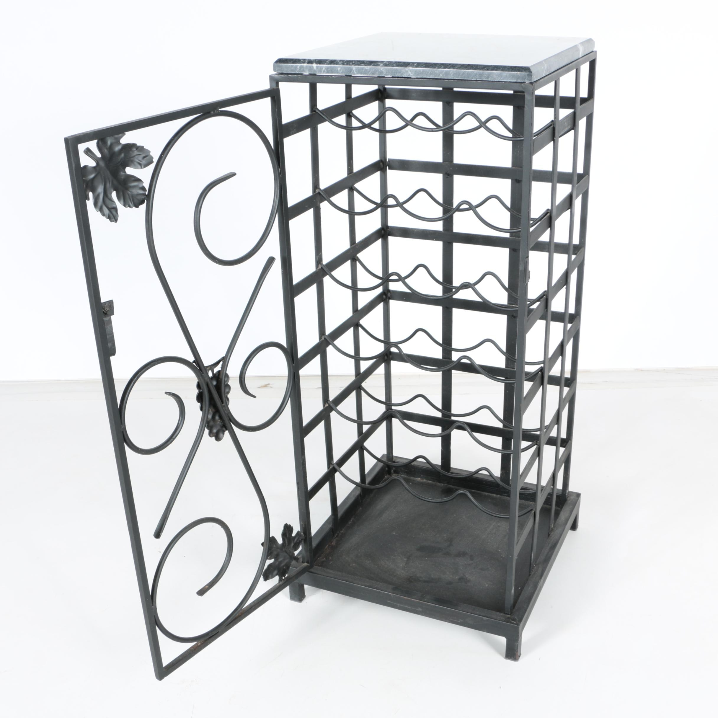 Metal Wine Rack With Marble Top