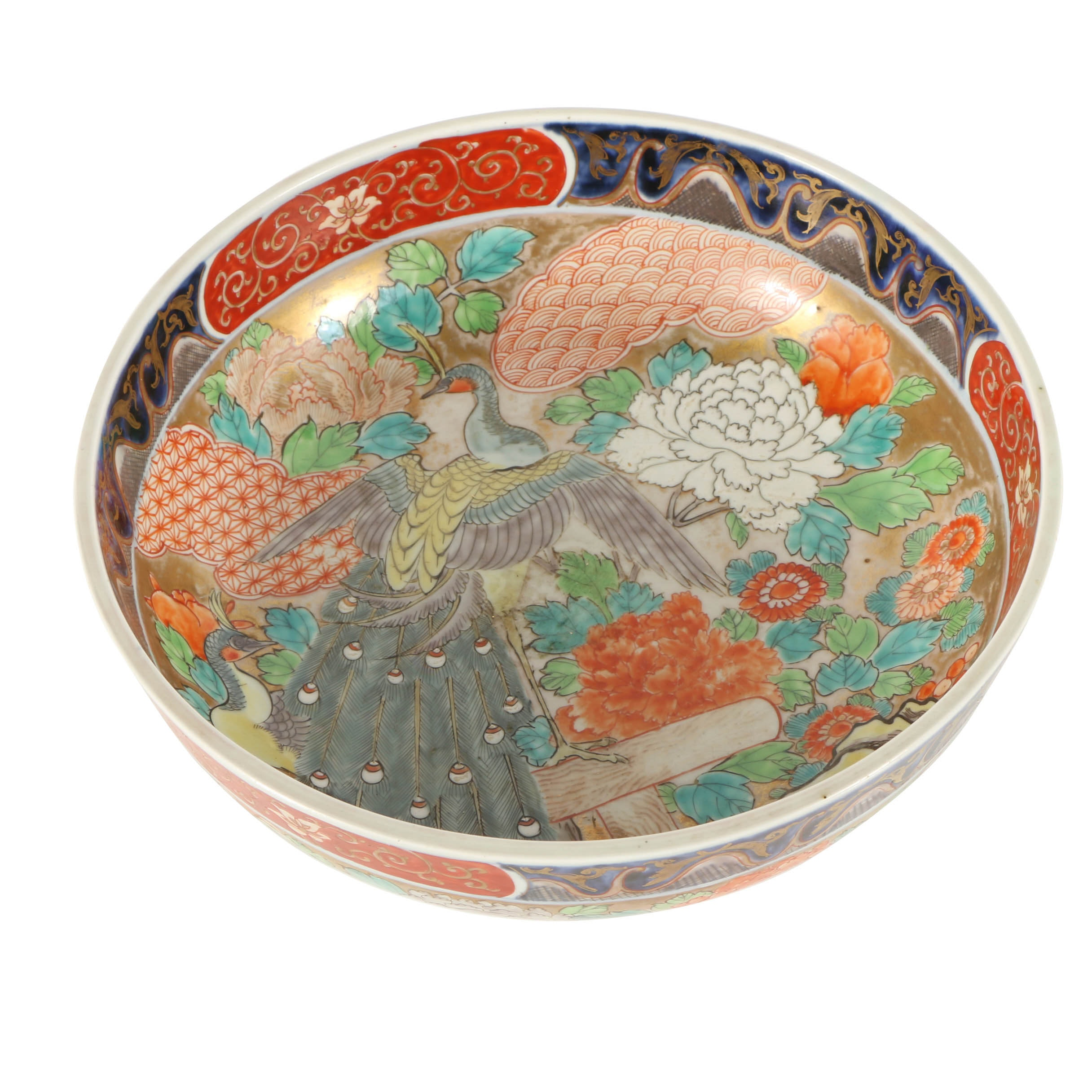 Large Hand-Painted East Asian Bowl