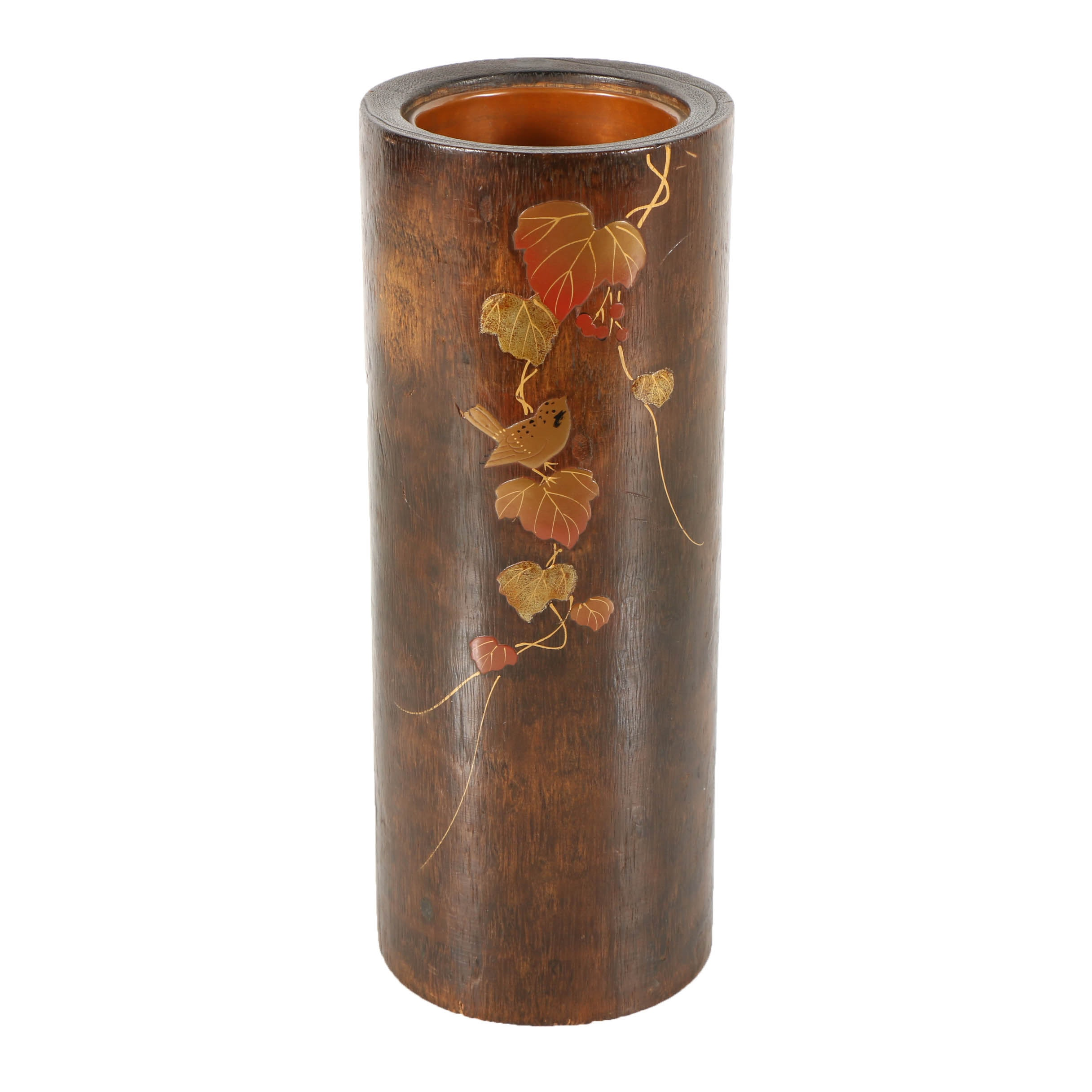 Japanese Wooden Vase with Bird Motif