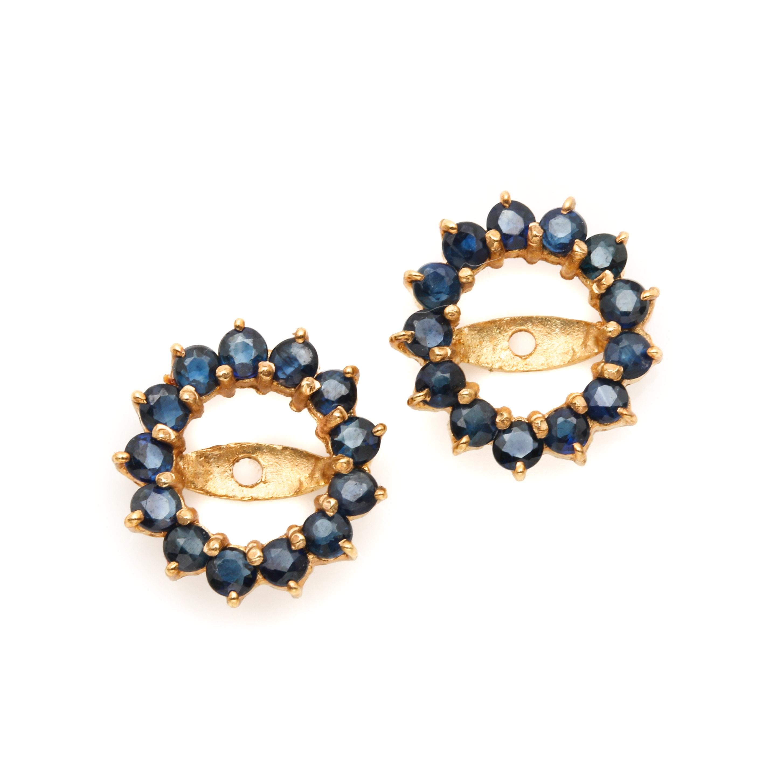 14K Yellow Gold Blue Sapphire Earring Jackets