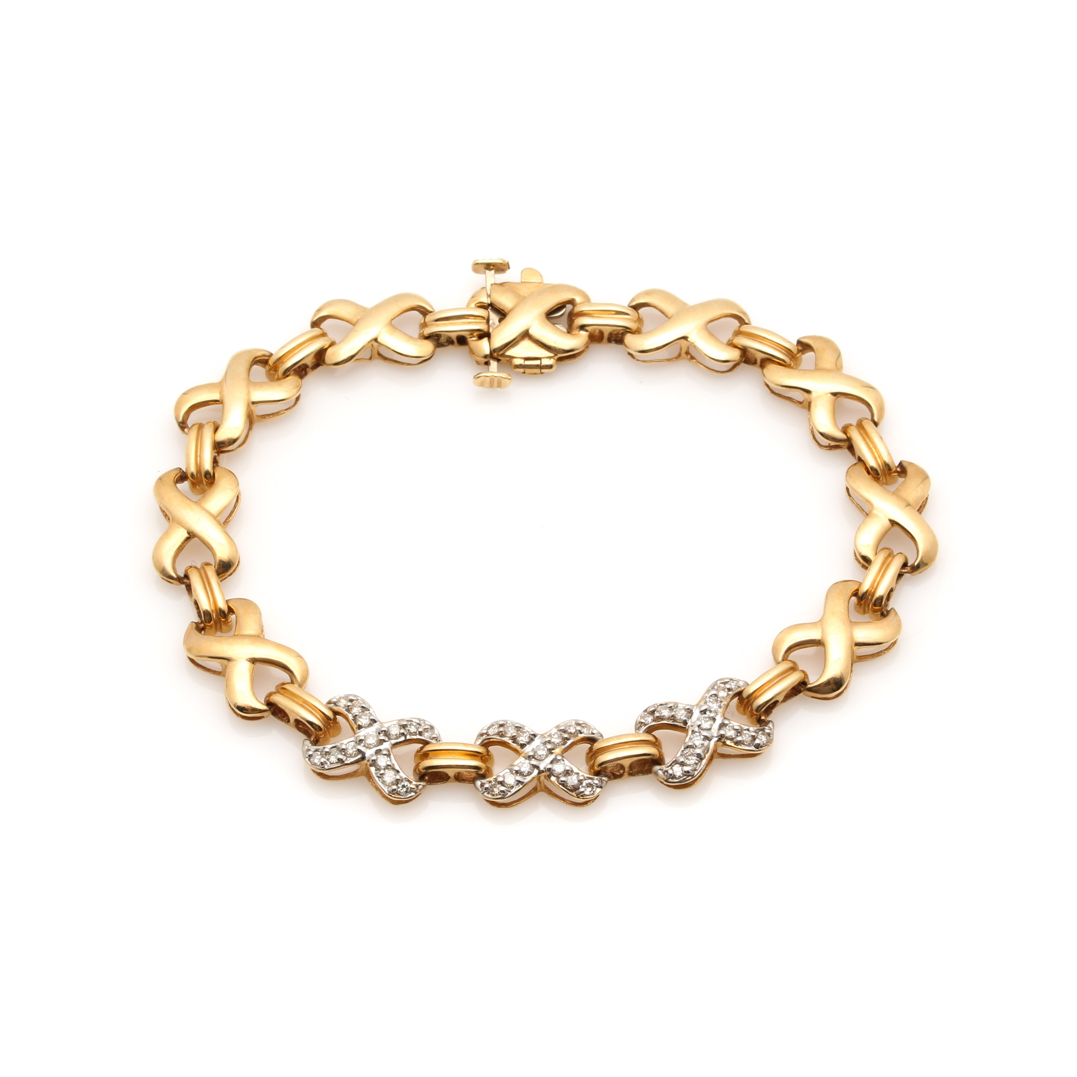 14K Yellow Gold Diamond Bracelet With White Gold Accents