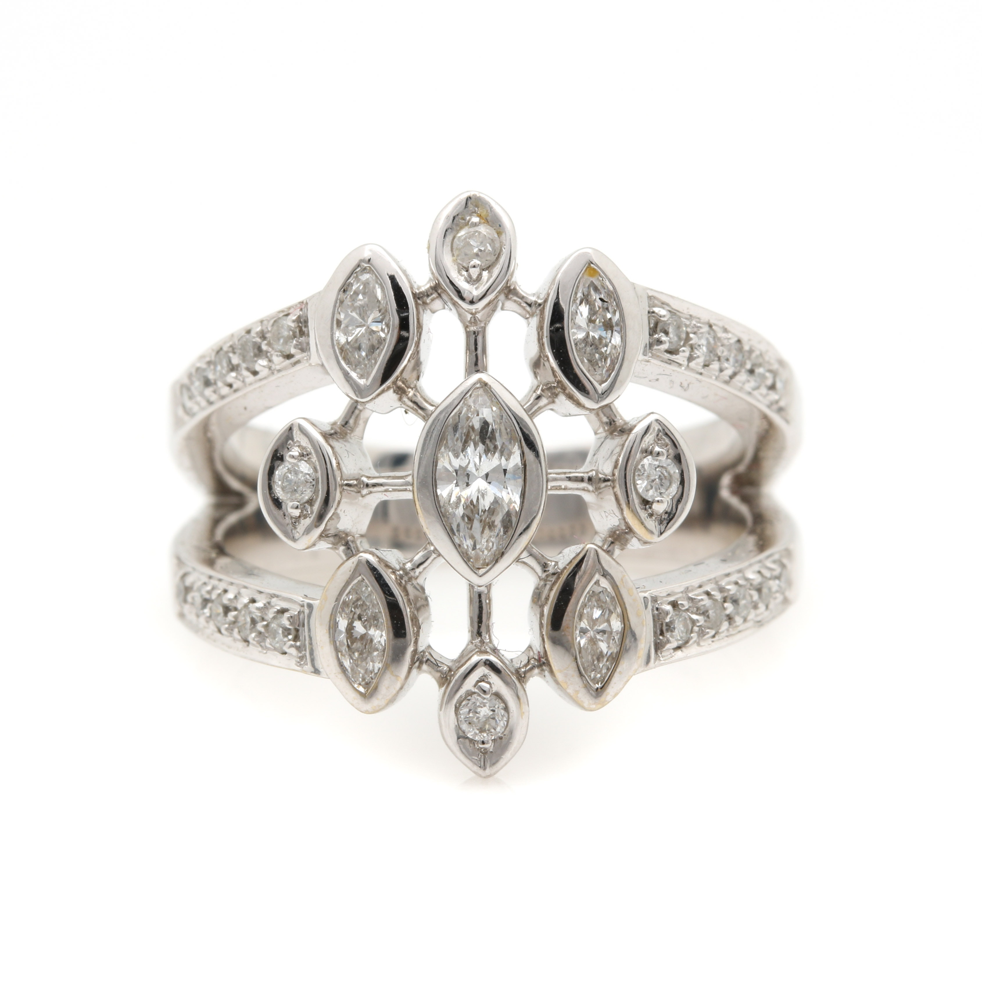 14K White Gold 0.90 CTW Diamond Ring