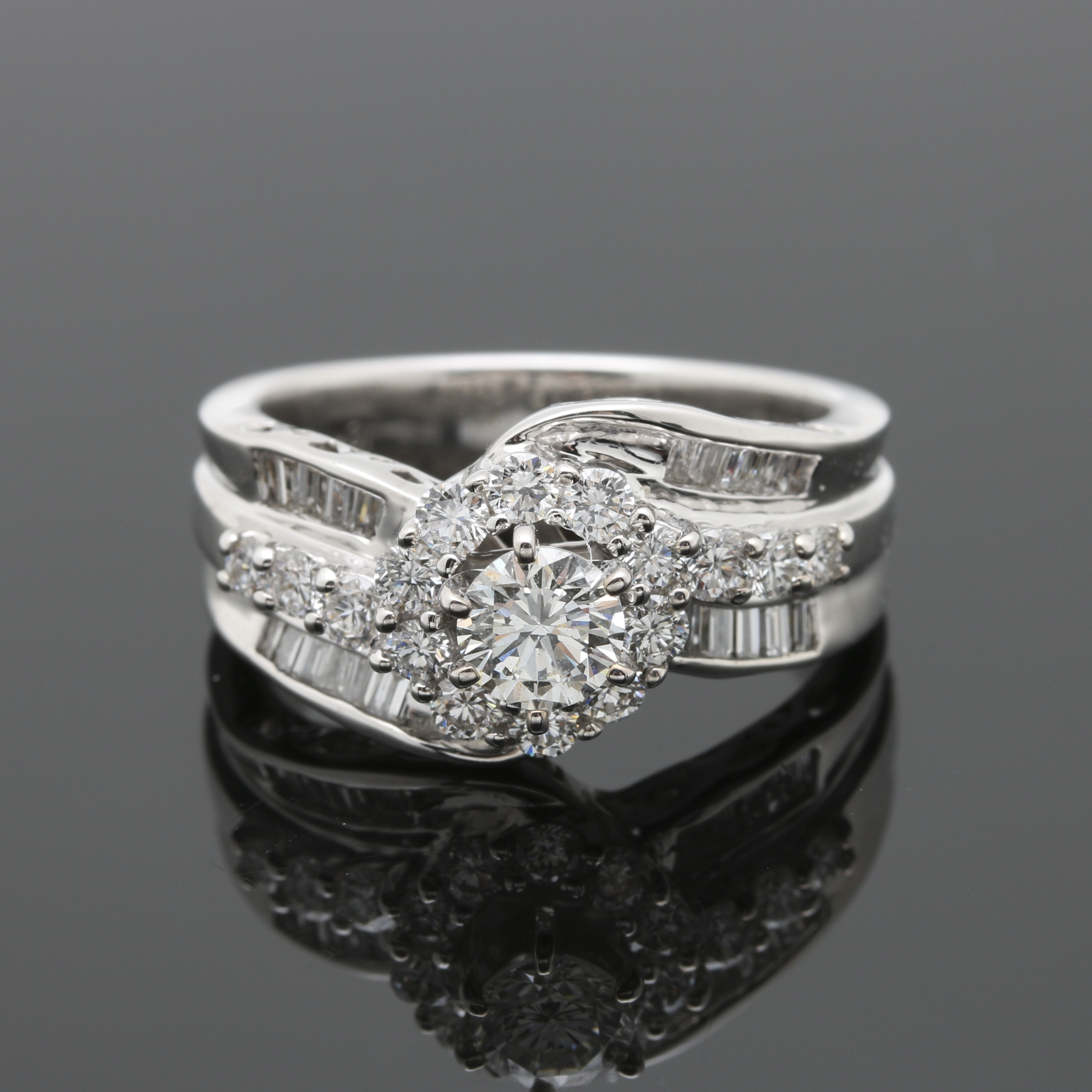18K White Gold 1.45 CTW Diamond Bypass Ring
