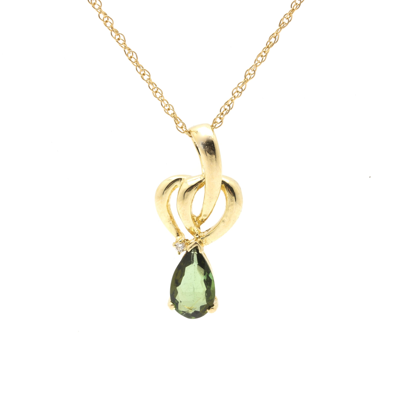 14K Yellow Gold Tourmaline and Diamond Pendant Necklace