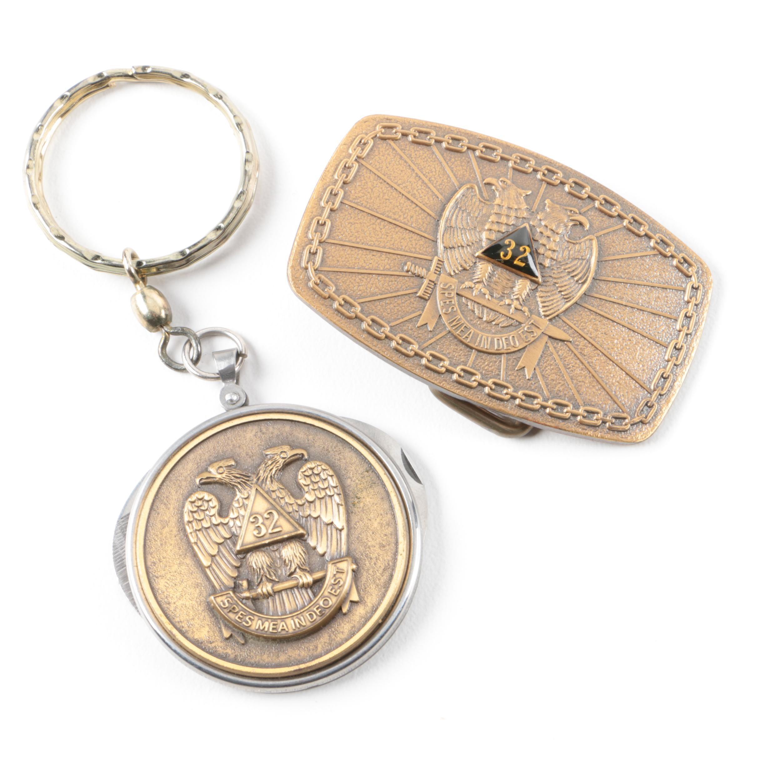 Vintage 32° Scottish Rite Freemasonry Belt Buckle and Knife Keychain