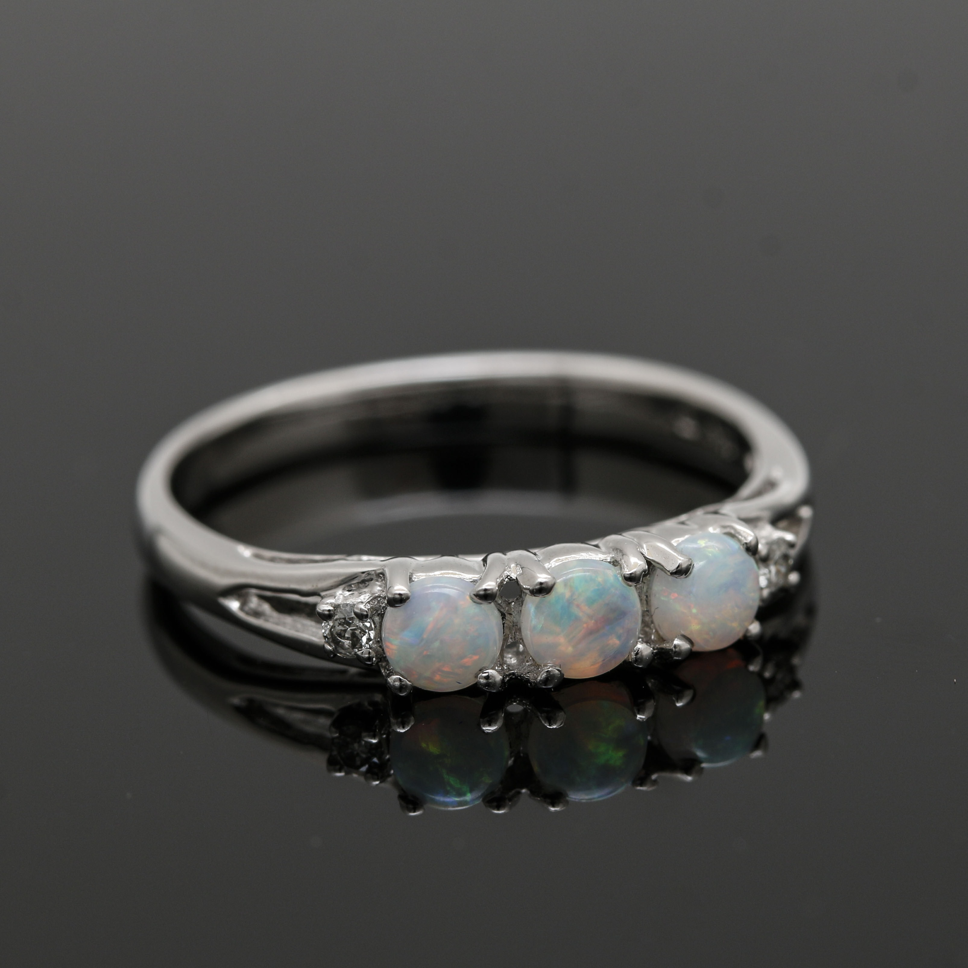 Krementz 14K White Gold Opal and Diamond Ring