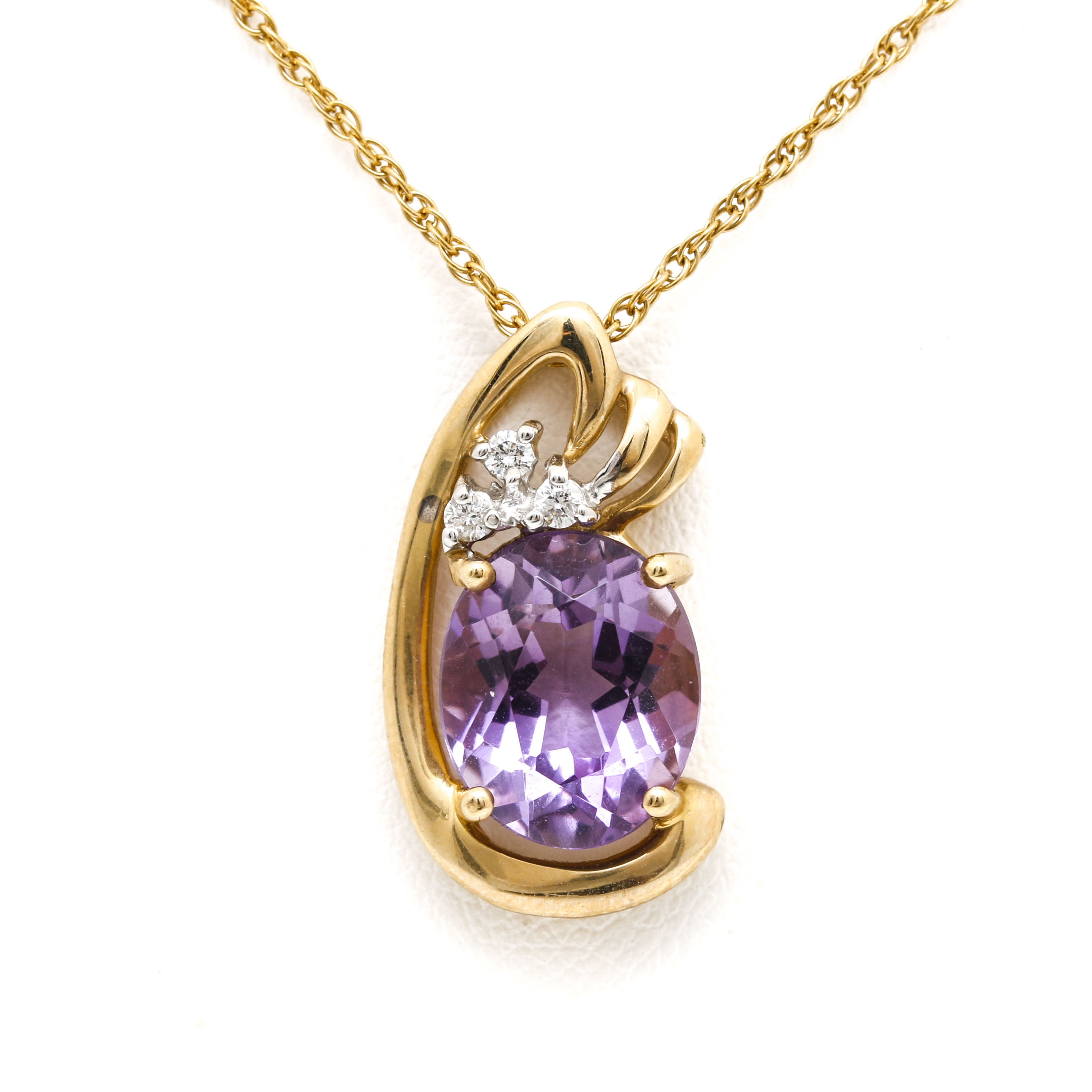 14K Yellow Gold 3.40 CT Amethyst and Diamond Pendant Necklace