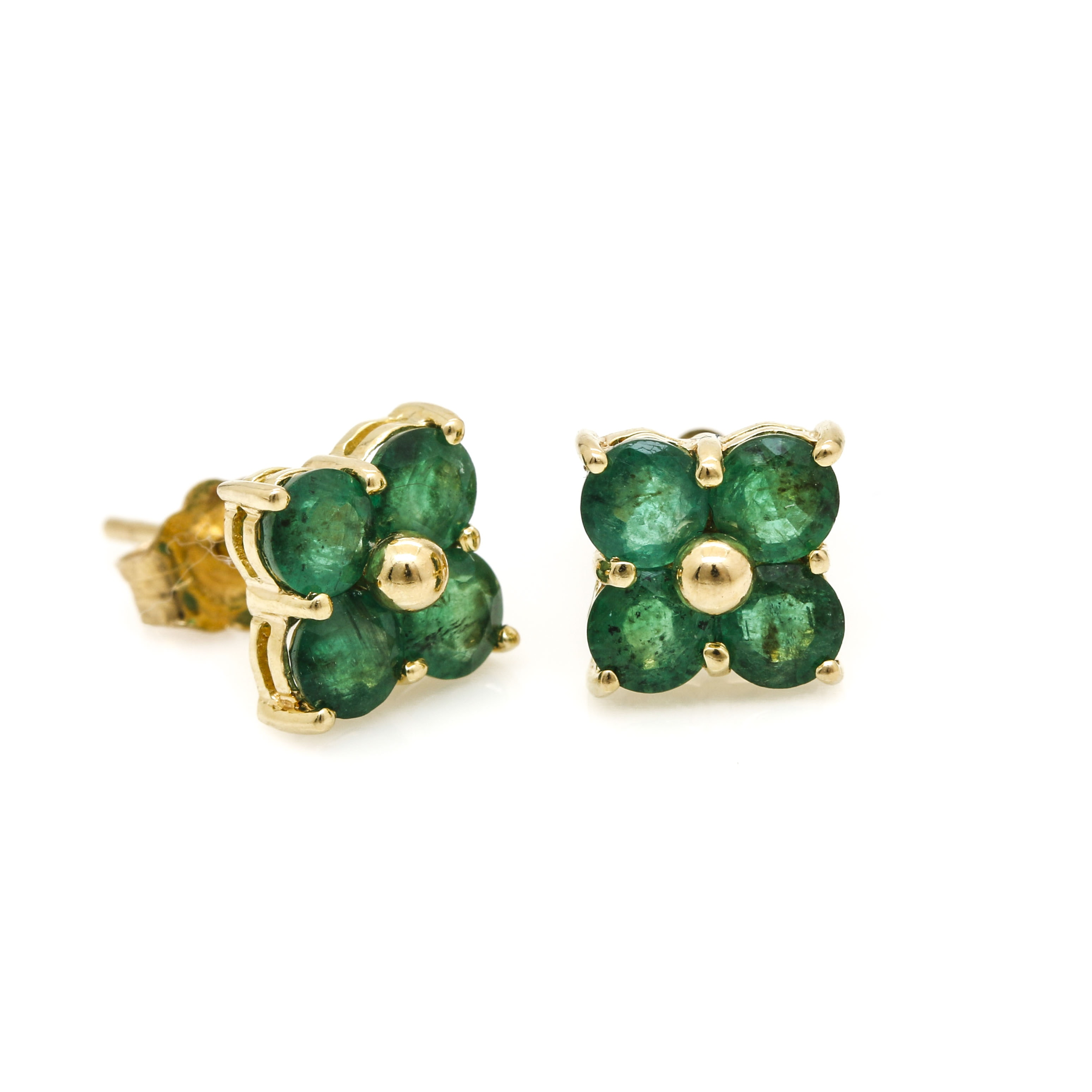 14K Yellow Gold Emerald Floral Stud Earrings