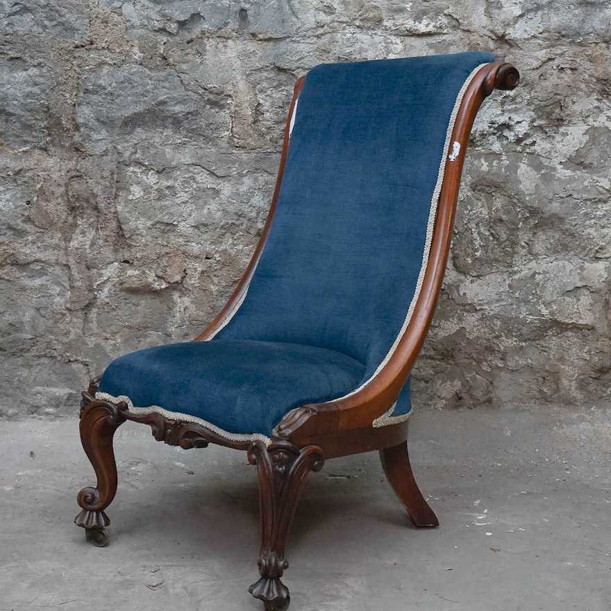 Antique English Victorian Slipper Chair ... - Antique English Victorian Slipper Chair : EBTH