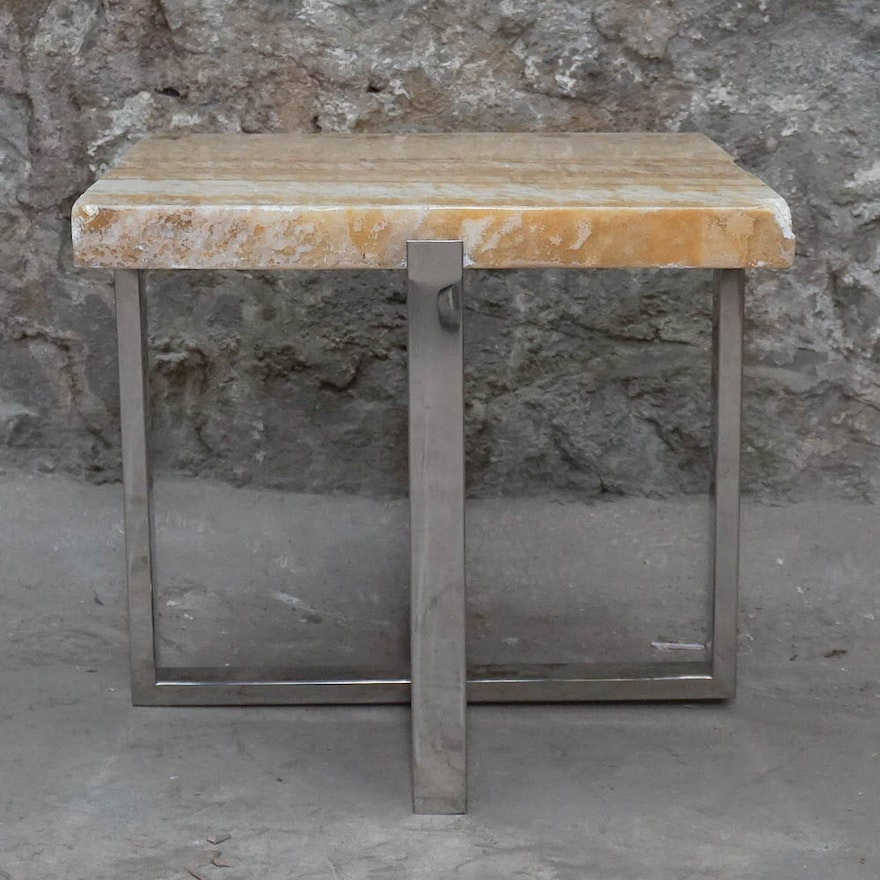 Banded Calcite Stone Top Side Table Ebth