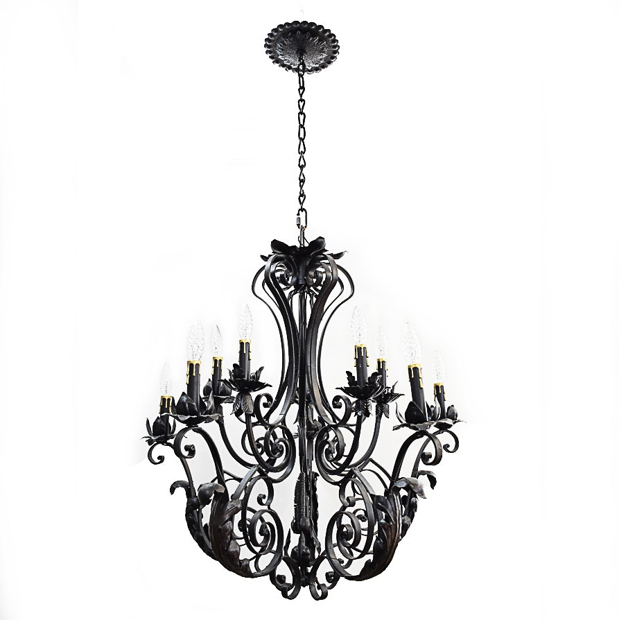 Antique Rococo Style Wrought Iron Chandelier