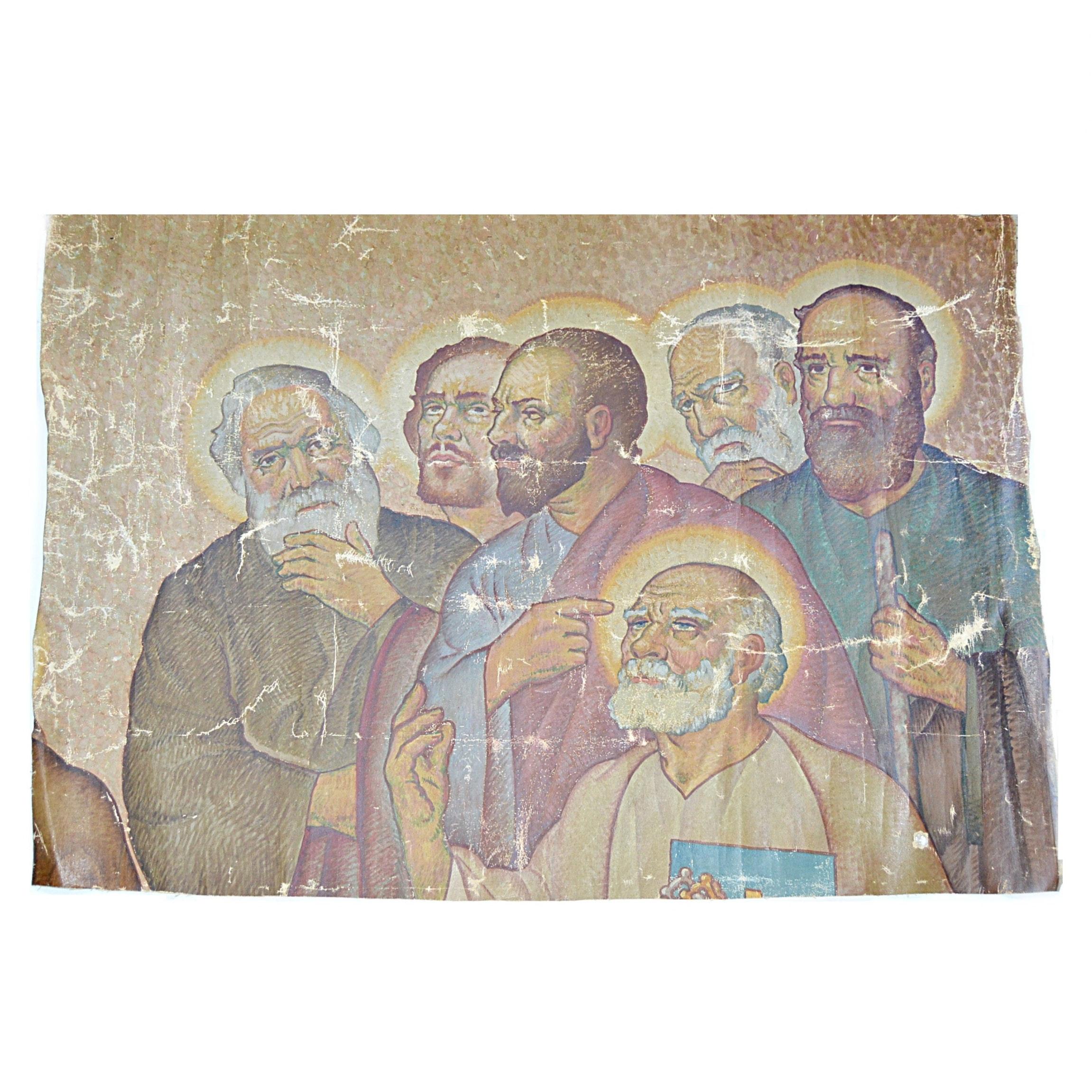 19th Century Ecclesiastical Oil on Canvas Mural Fragment