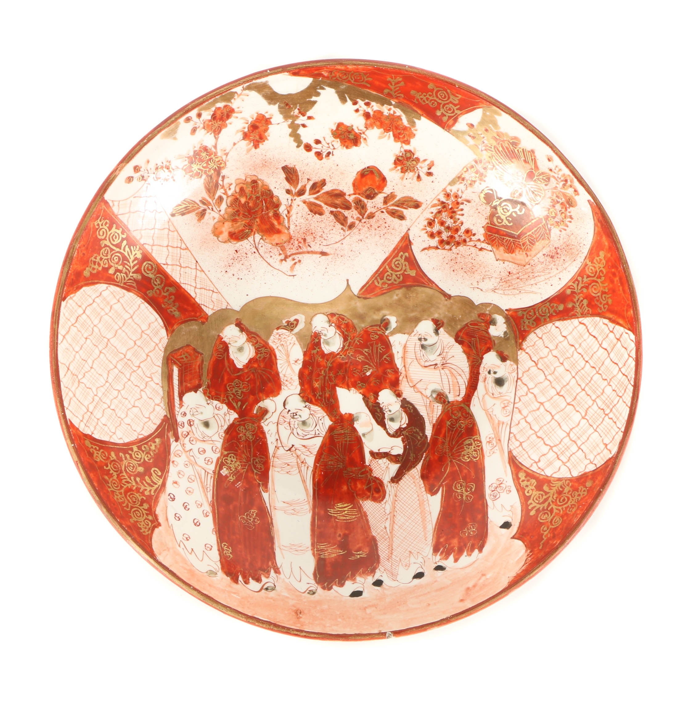 East Asian-Inspired Ceramic Bowl with Glazed Figurative Scene