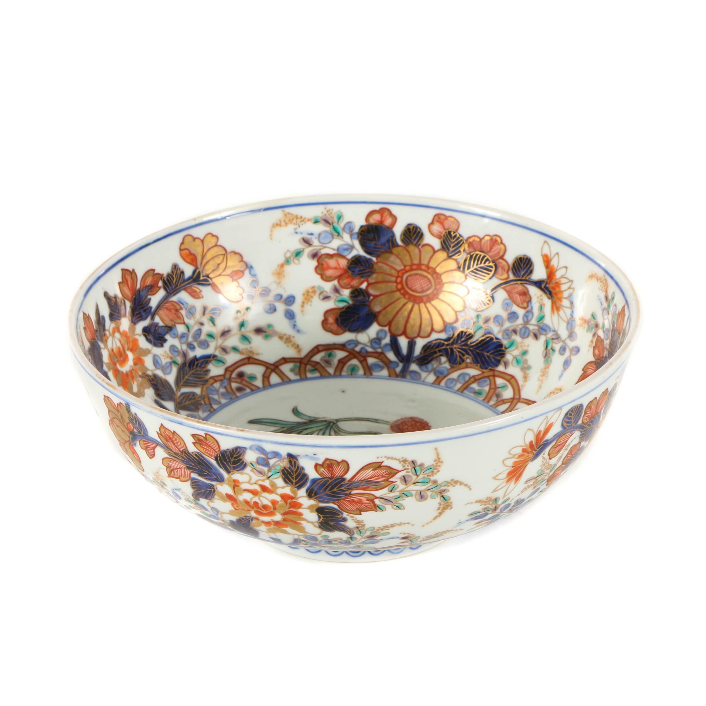 Japanese Porcelain Bowl with Floral Motif