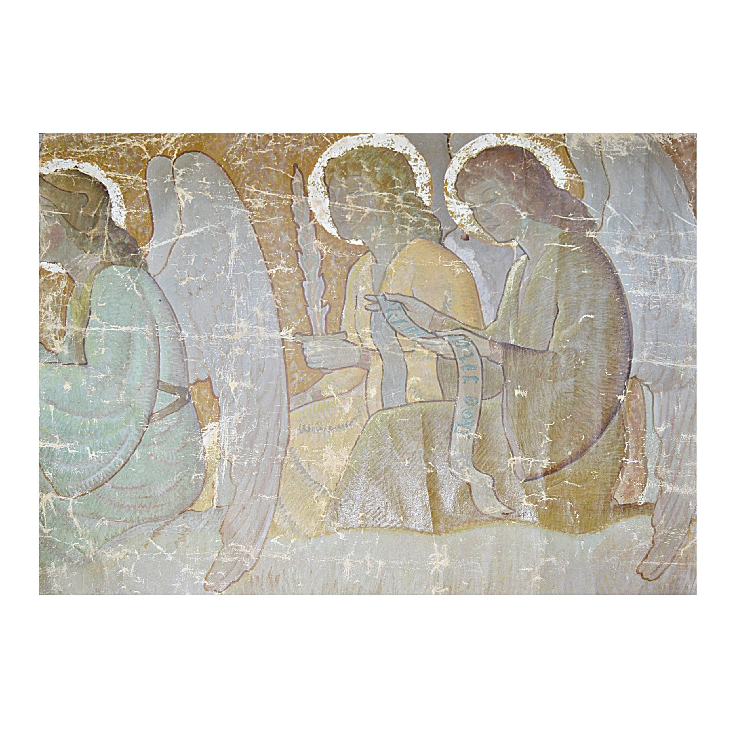 19th-Century Ecclesiastical Oil on Canvas Mural Fragment