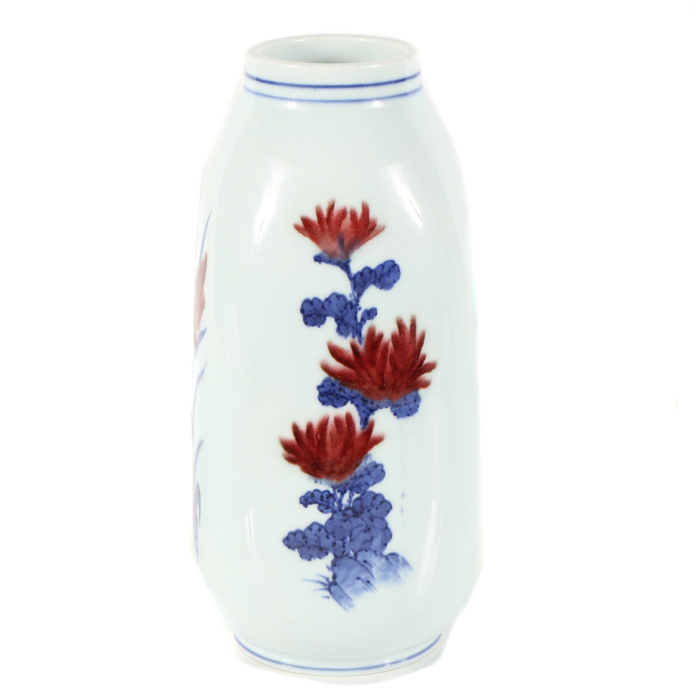 Japanese Square Porcelain Vase with Floral Motif