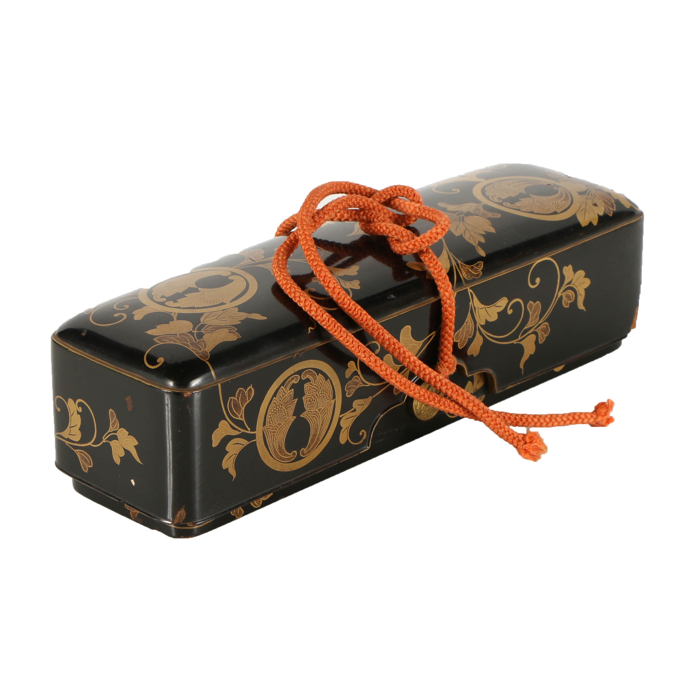 Japanese Lacquered Wood Scroll Box with Floral Motif