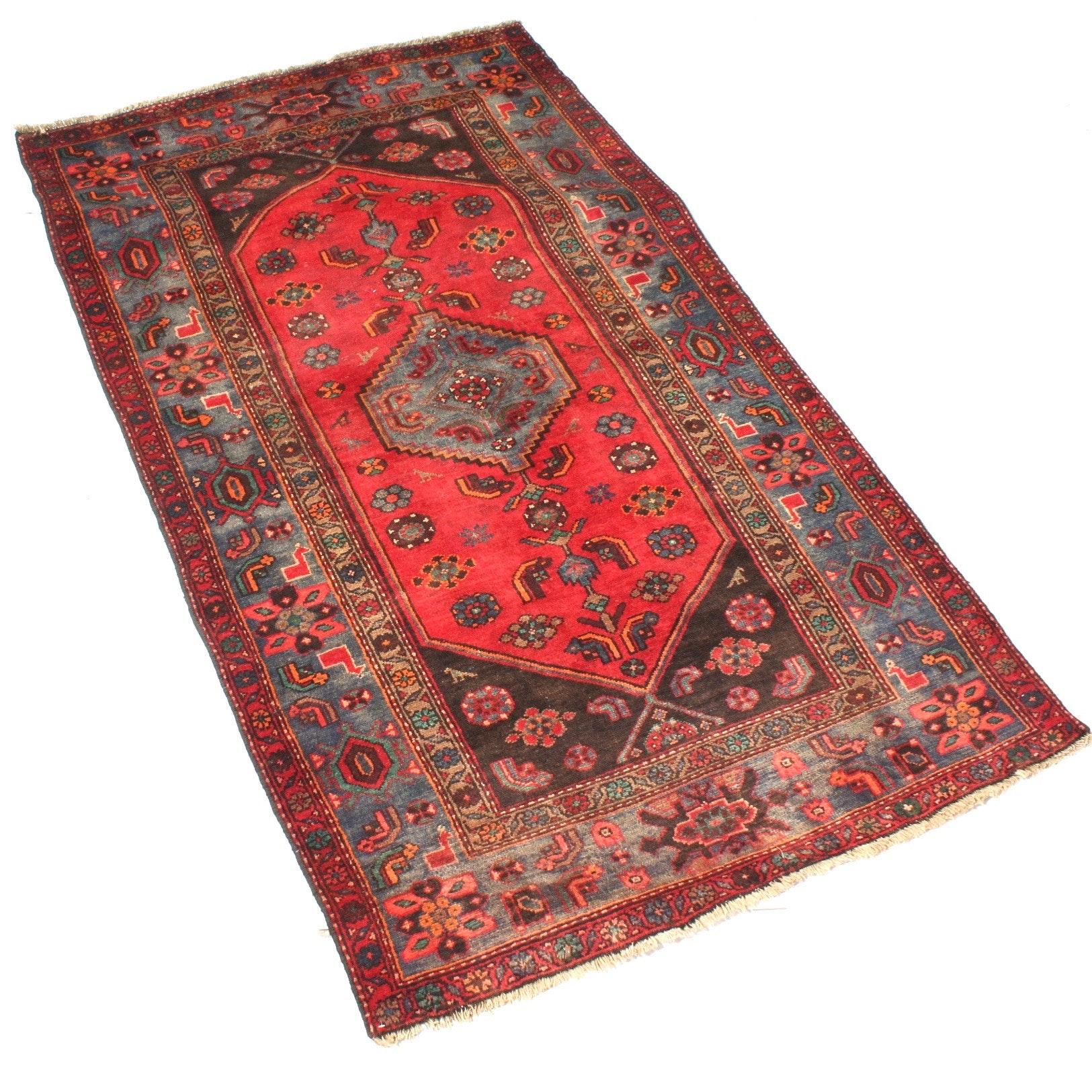 Vintage Hand-Knotted Persian Kurdish Bijar Area Rug