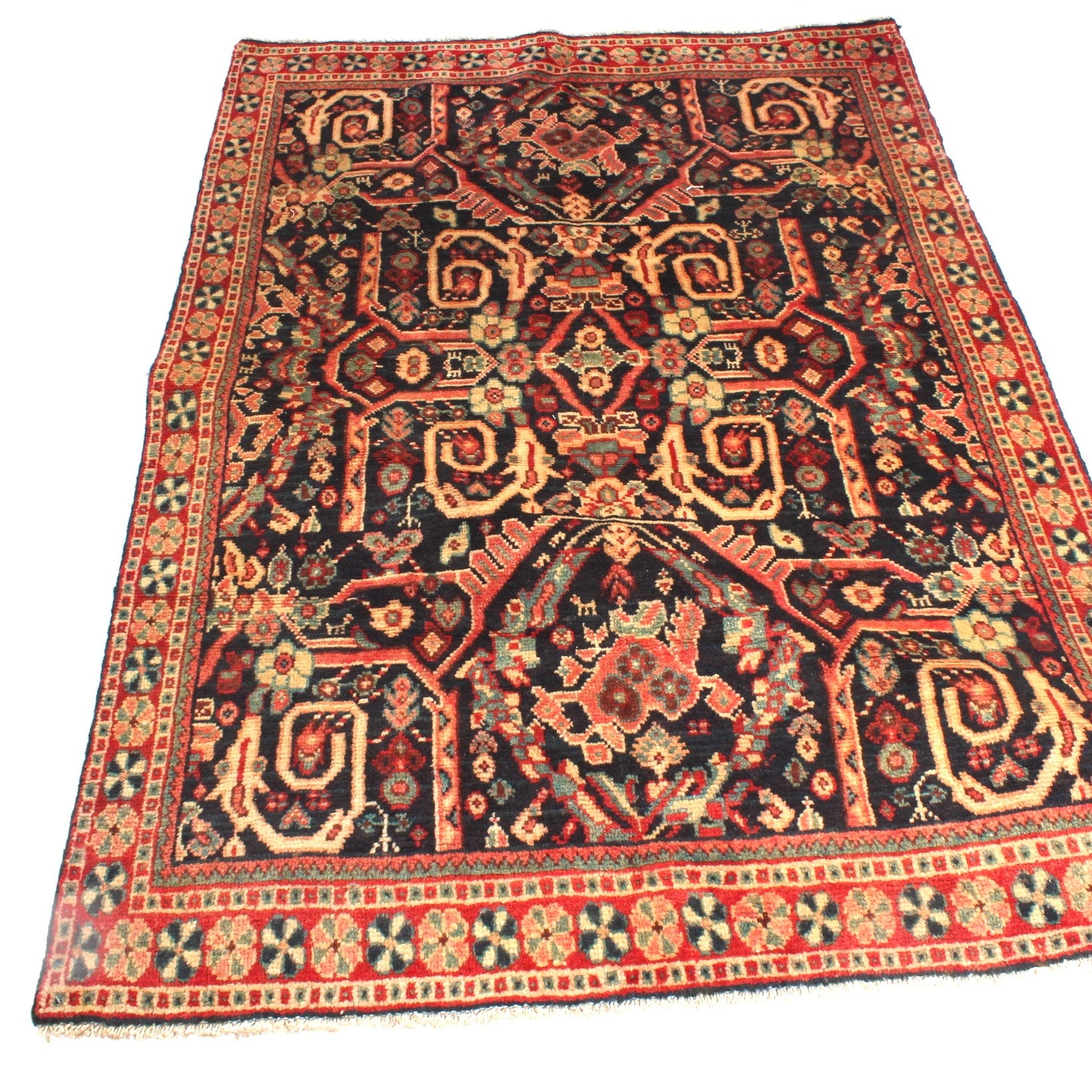 Vintage Hand-Knotted Persian Mahal Sarouk Area Rug