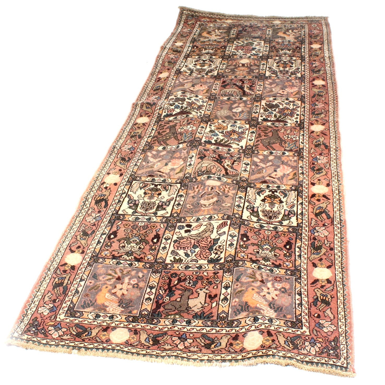 Vintage Hand-Knotted Persian Hunting Qum Rug Runner