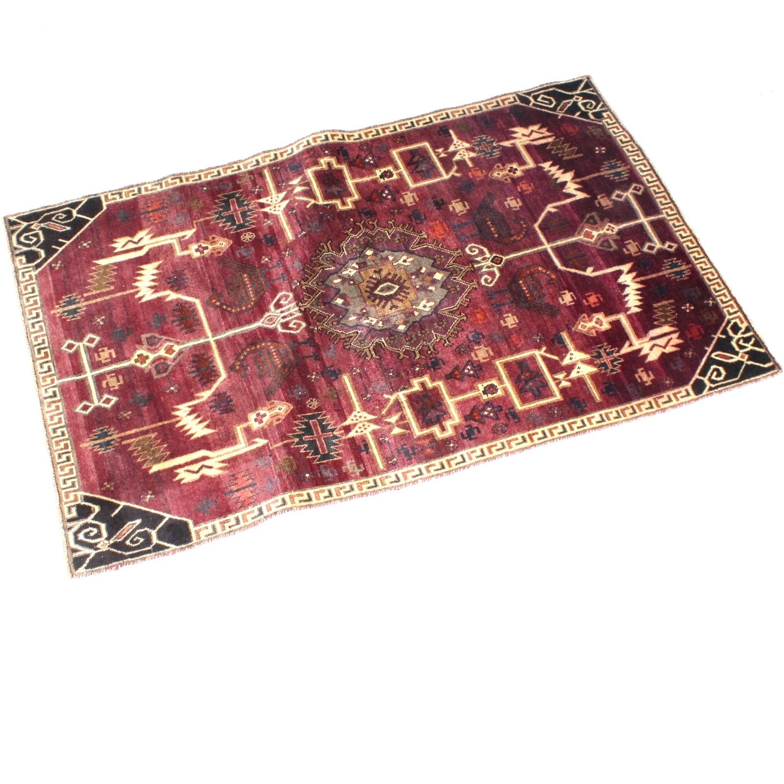 Vintage Hand-Knotted Persian Qashqai Area Rug