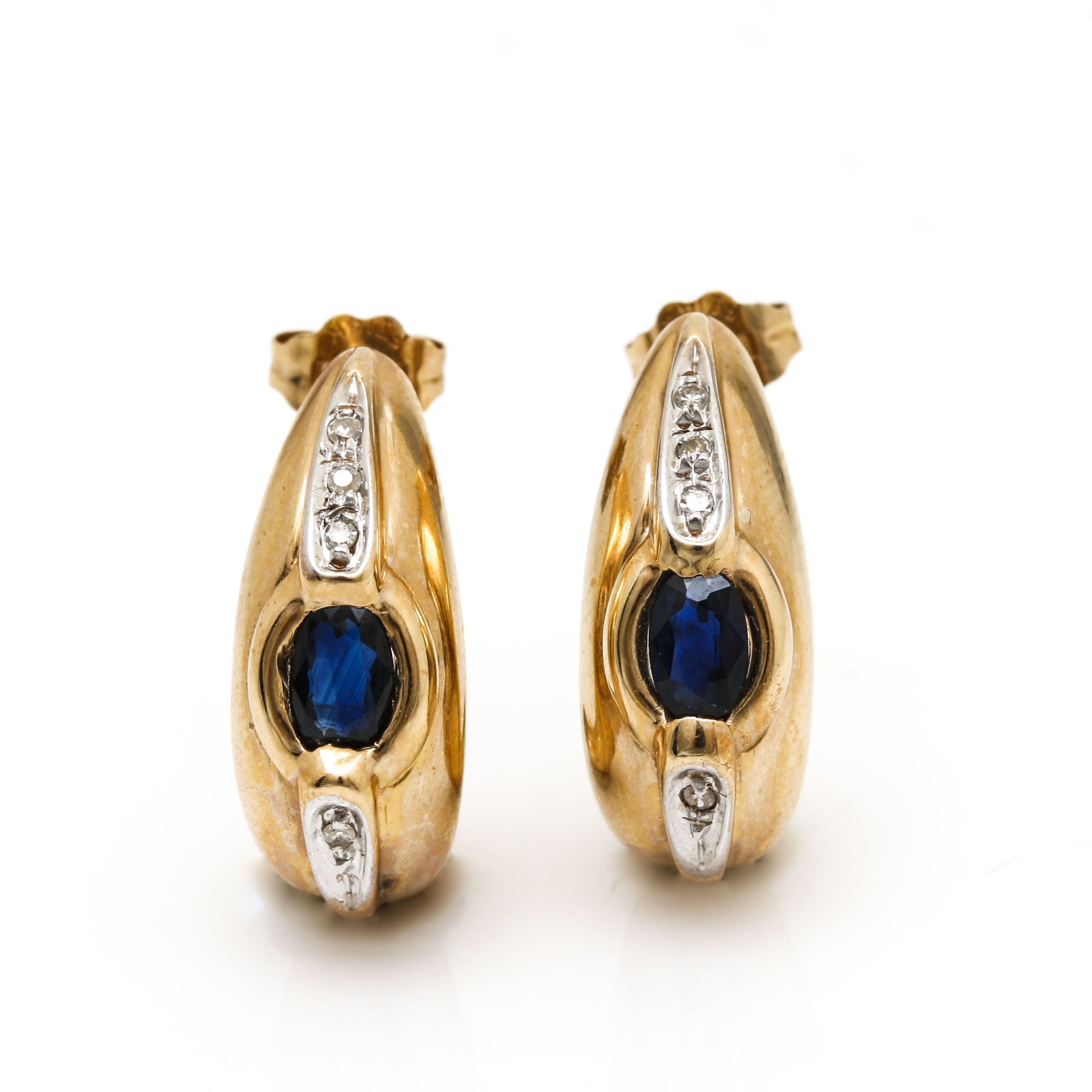 14K Yellow Gold Sapphire and Diamond Half Hoop Earrings with White Gold Accents