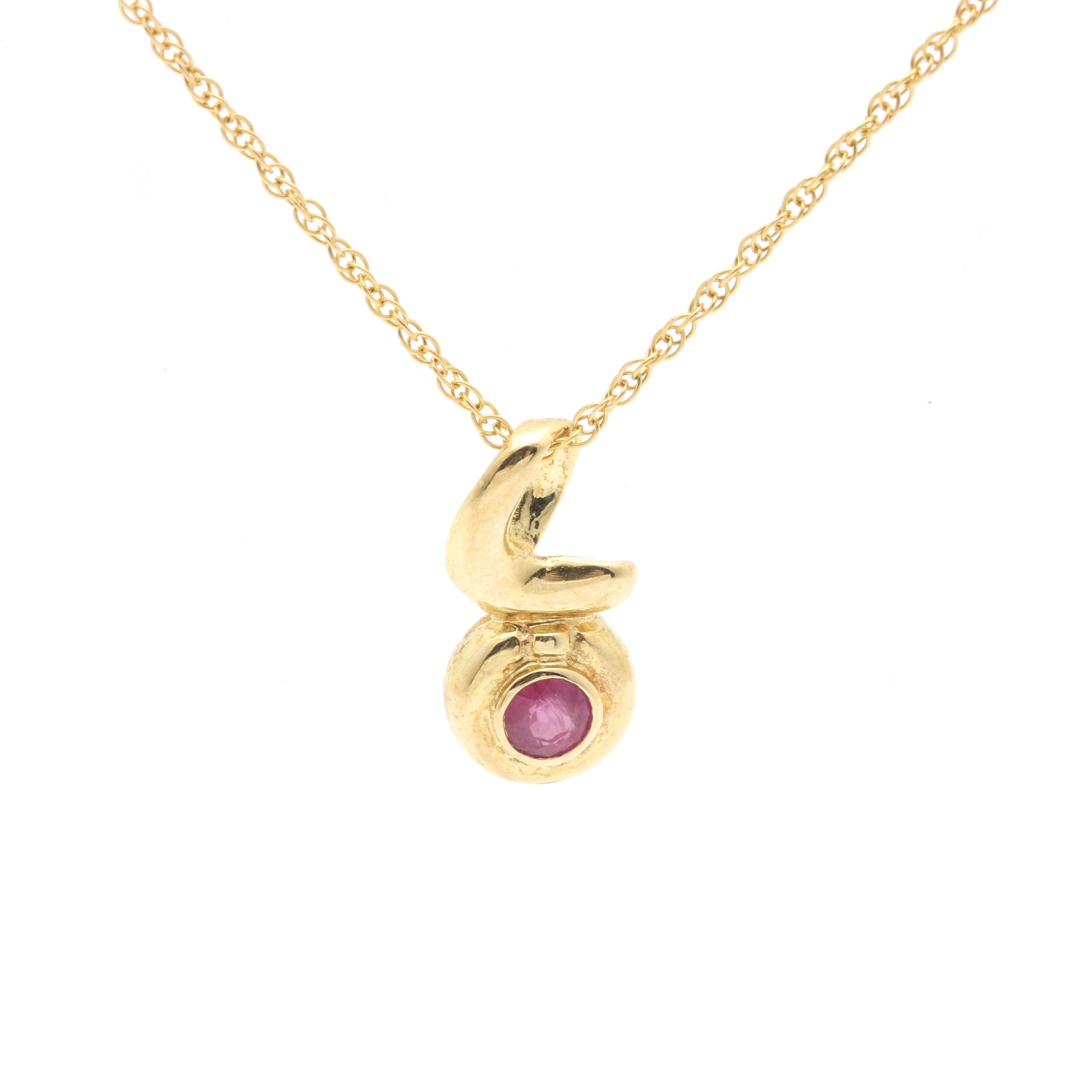 14K Yellow Gold Ruby Pendant Necklace