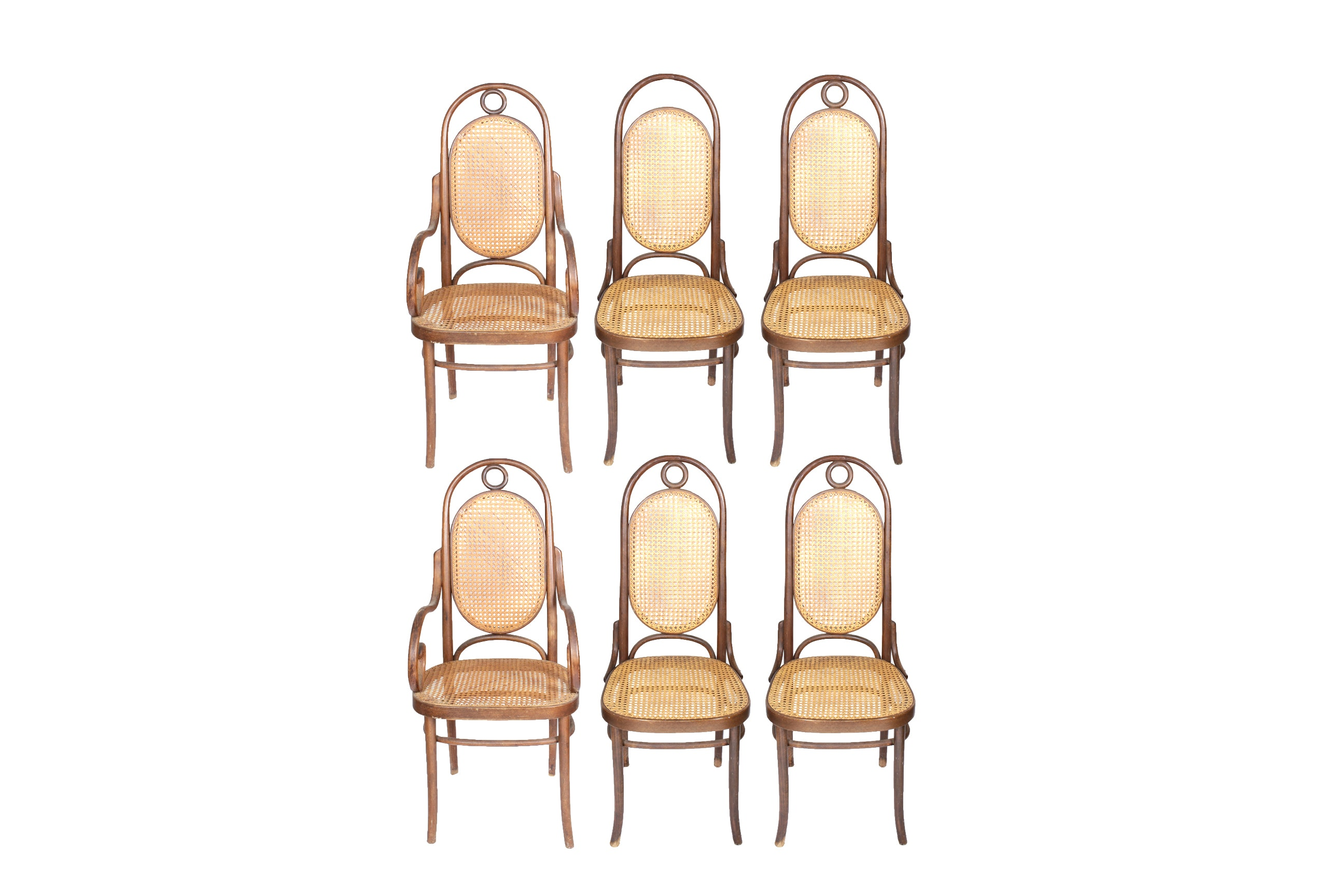 Set of Thonet Style Bentwood and Cane Dining Chairs