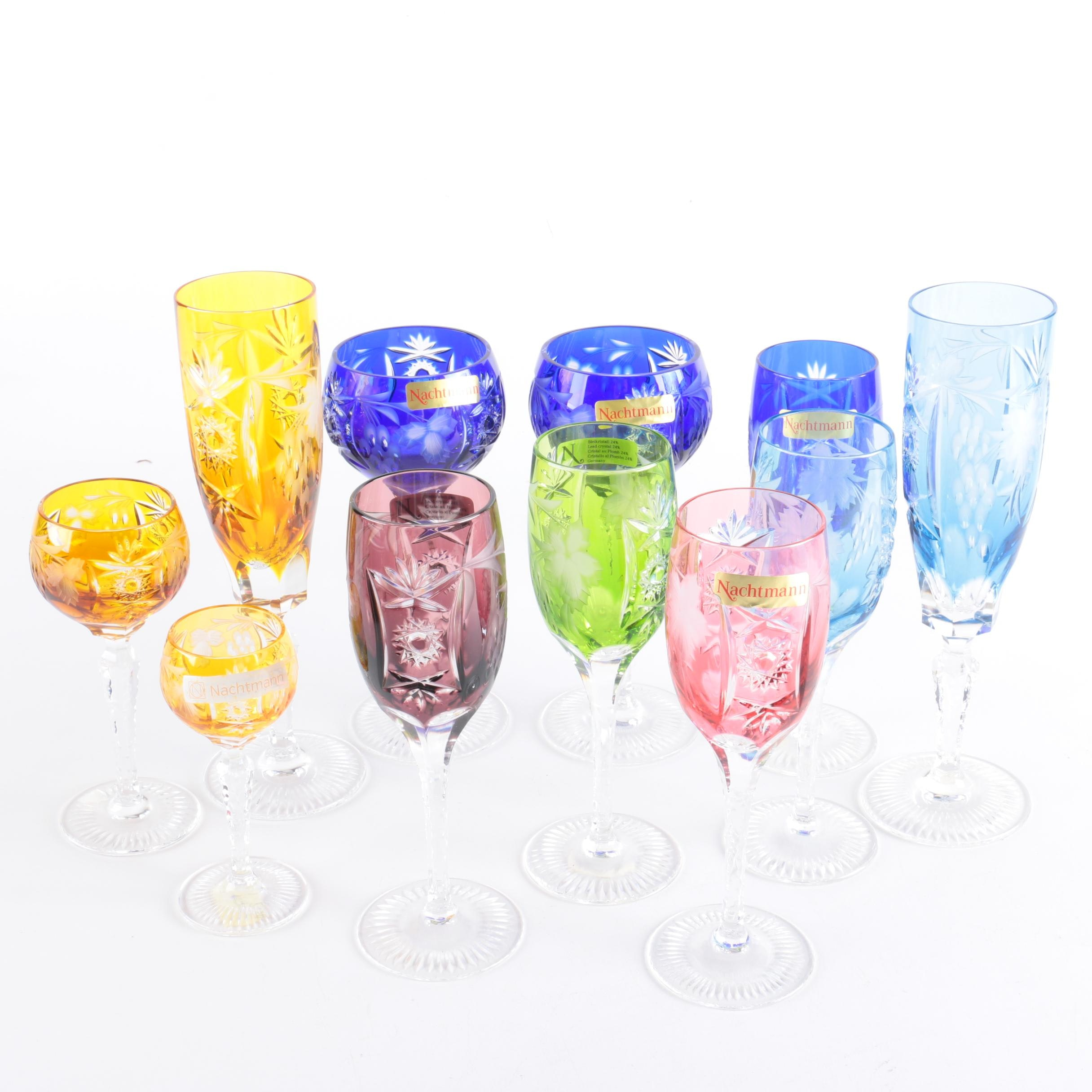 "Nachtmann ""Traube"" Cased Cut to Clear Crystal Stemware"