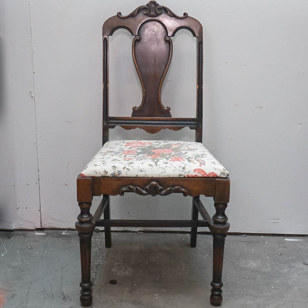 Vintage William and Mary Style Mahogany Finished Side Chair