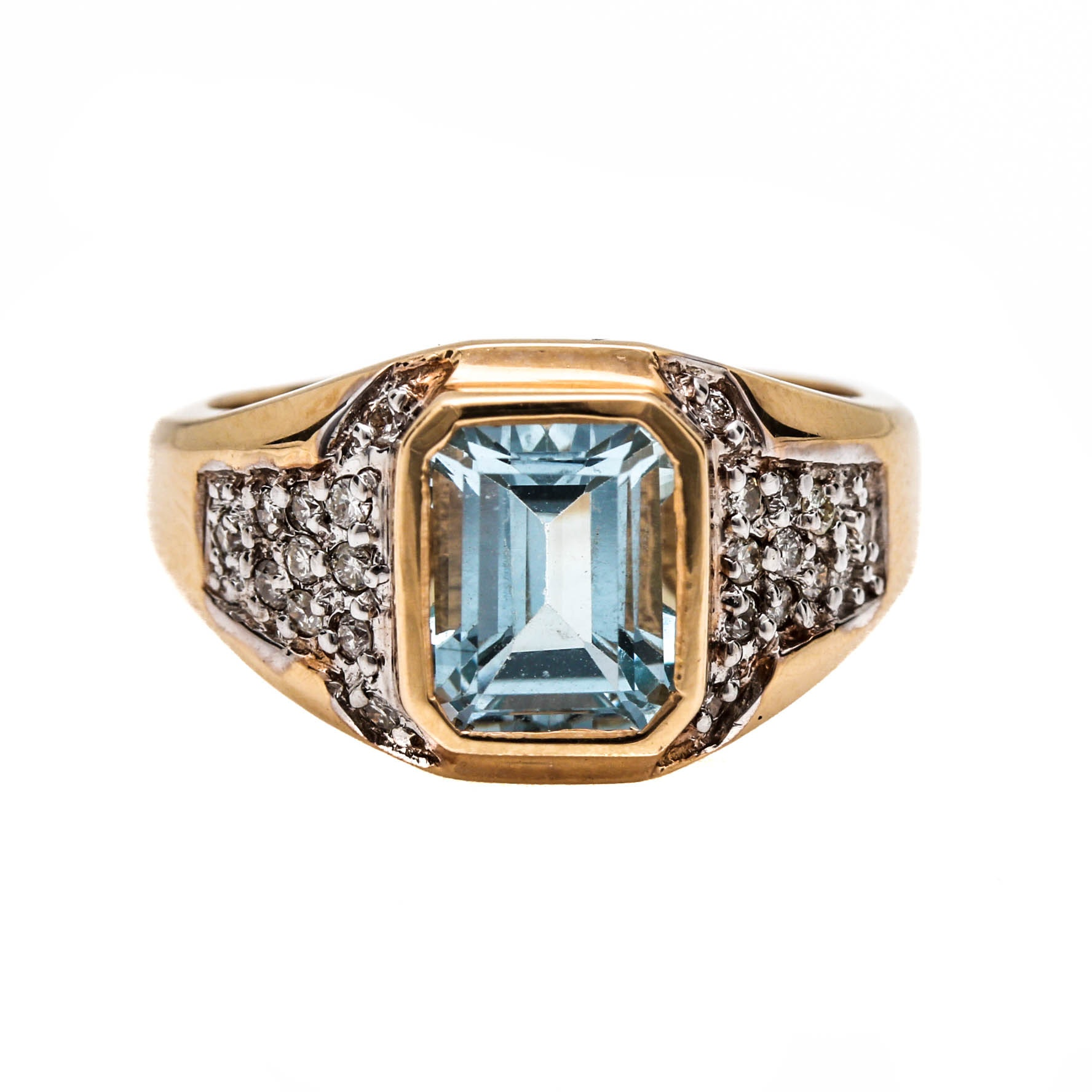Bermark 14K Two-Tone Gold Blue Topaz and Diamond Ring