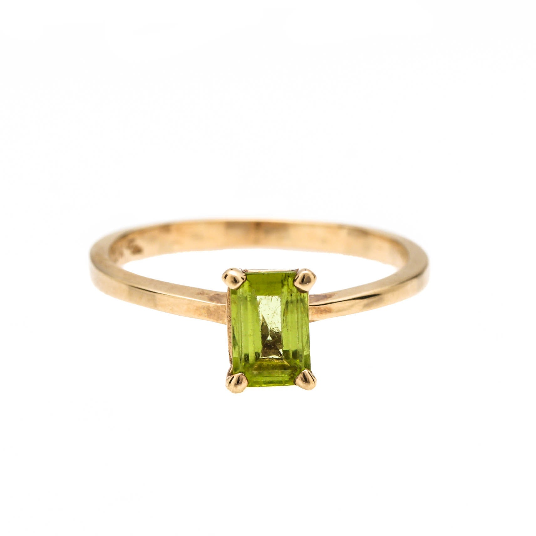 10K Yellow Gold Peridot Solitaire Ring